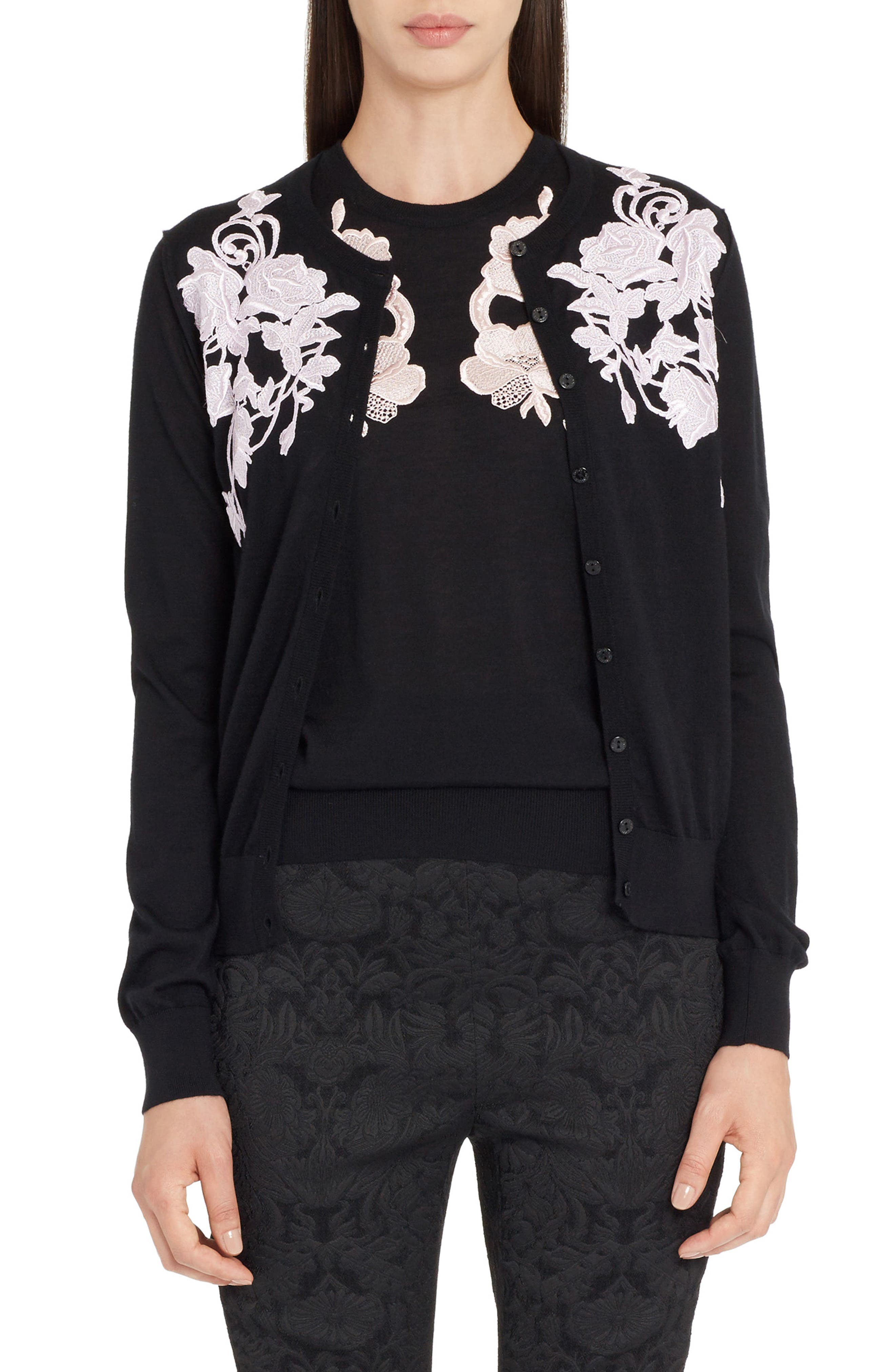 Placed Lace Cashmere Cardigan,                         Main,                         color,