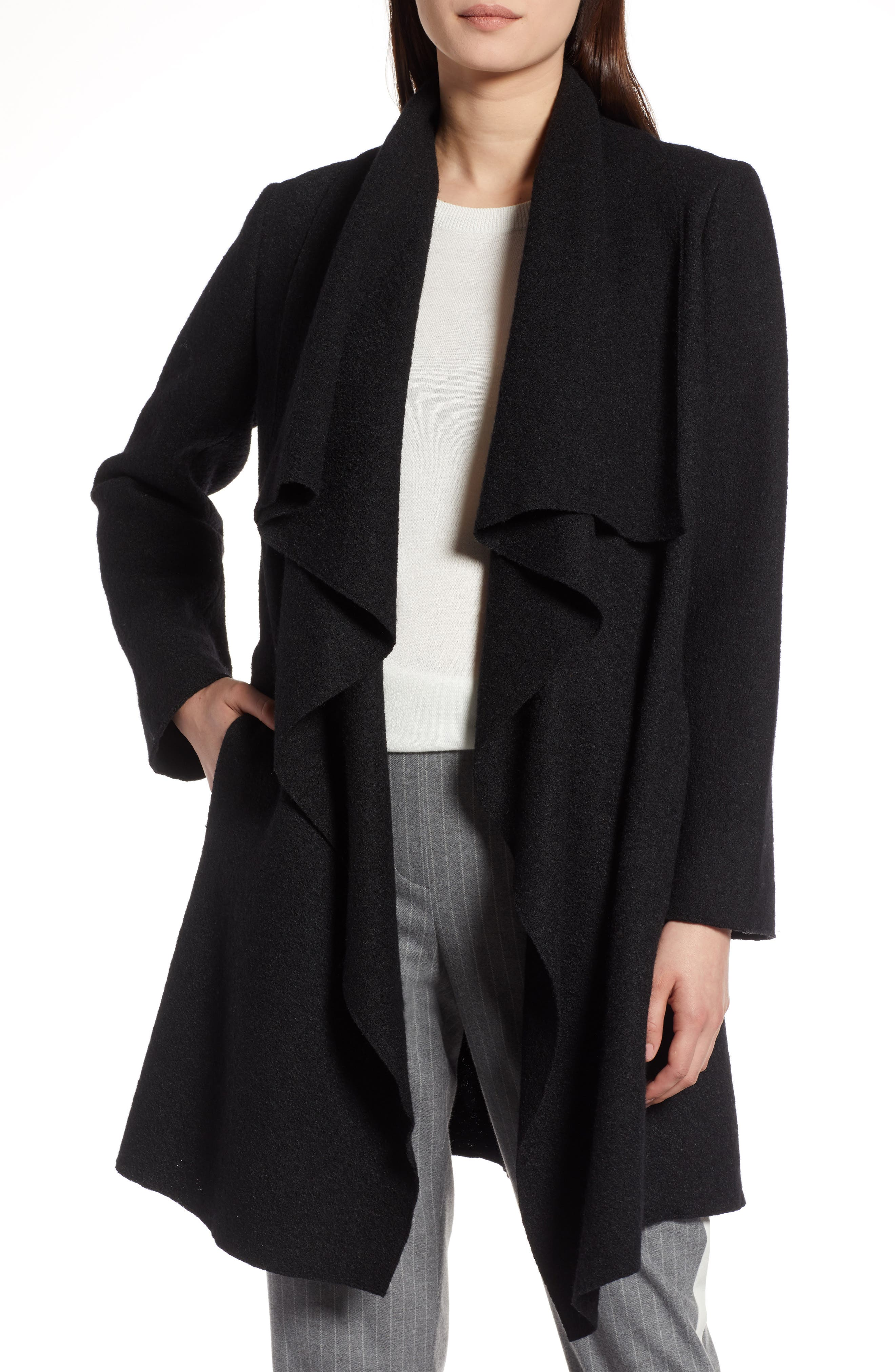 Boiled Wool Blend Drape Front Coat,                         Main,                         color, 001