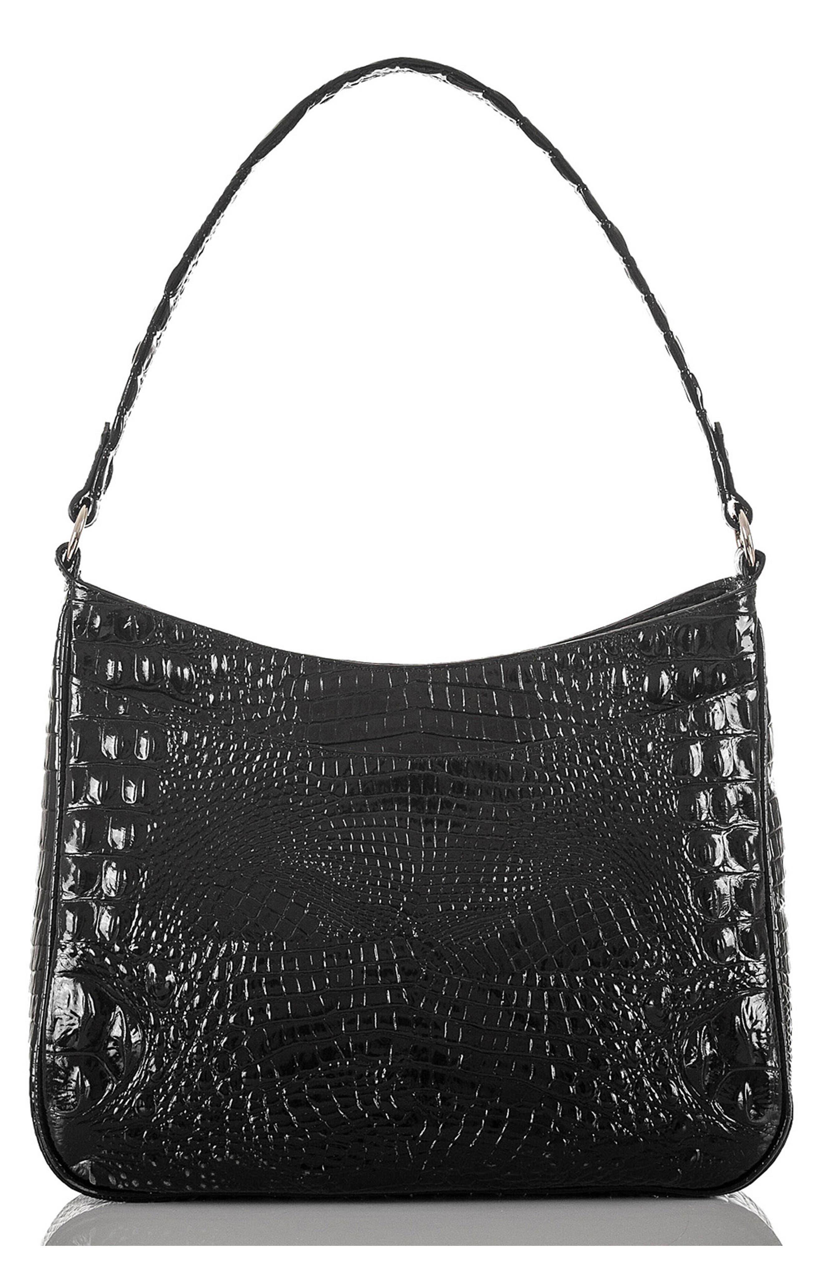 Noelle Croc Embossed Leather Hobo Bag,                             Alternate thumbnail 3, color,                             BLACK