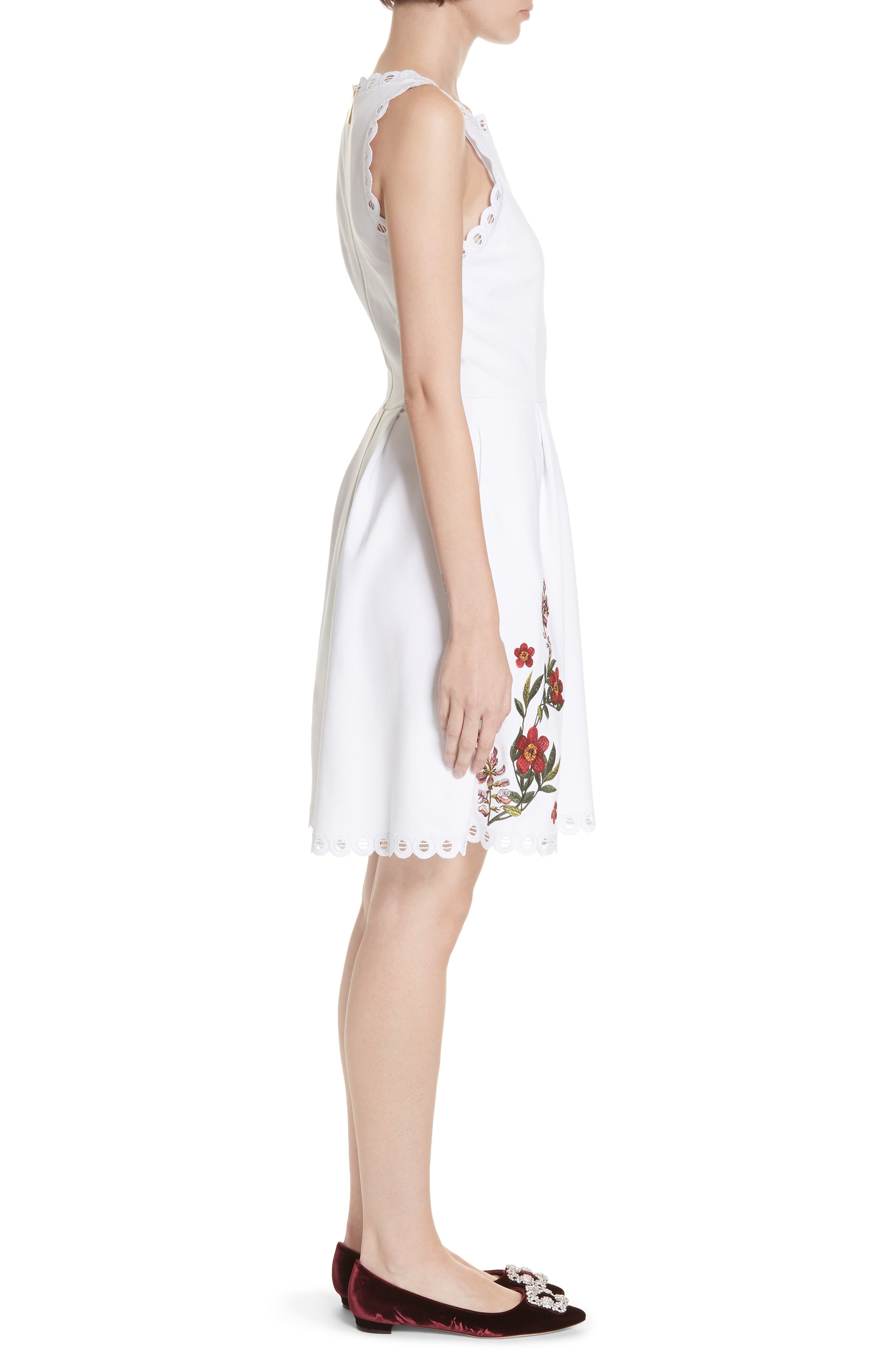 Kristil Kirstenbosch Skater Dress,                             Alternate thumbnail 3, color,                             WHITE