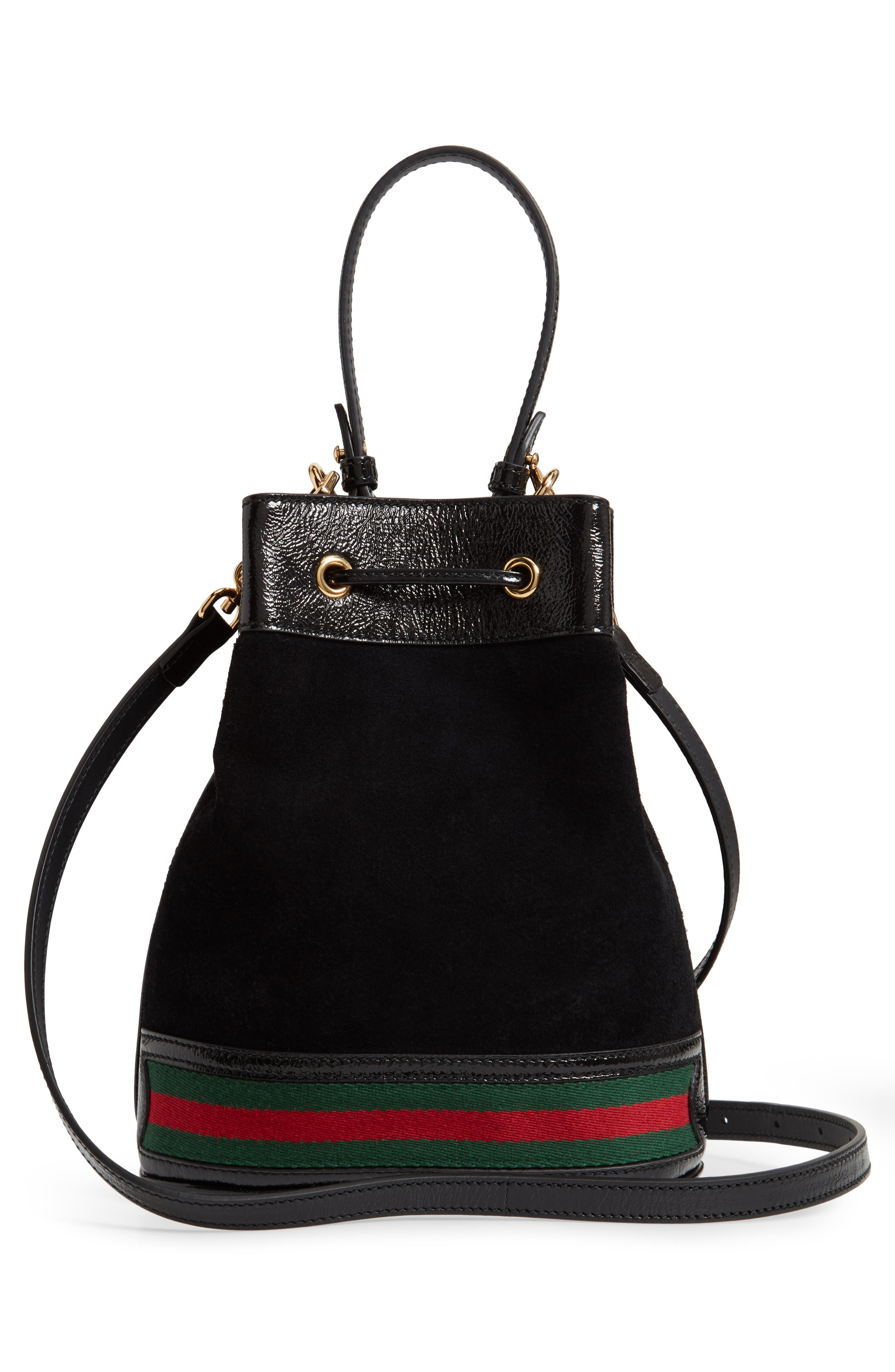 Small Ophidia Suede & Leather Bucket Bag,                             Alternate thumbnail 4, color,                             NERO/ VERT/ RED