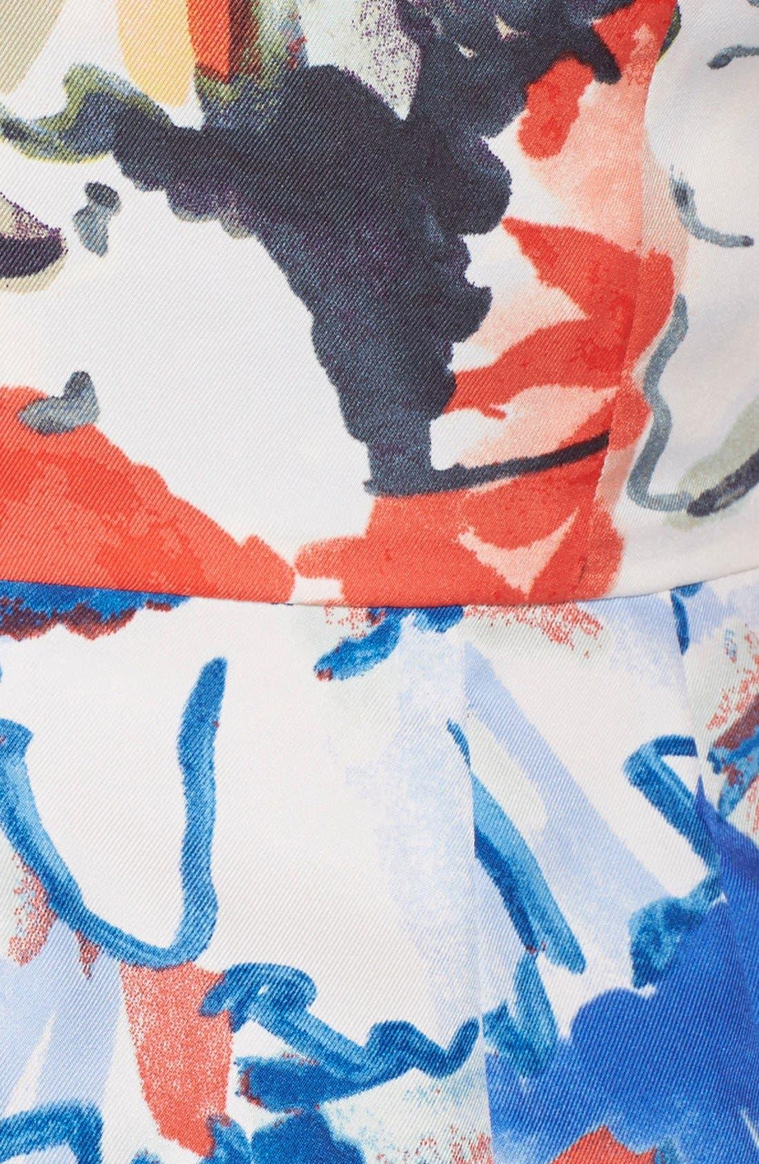 Floral Print Fit & Flare Dress,                             Alternate thumbnail 4, color,                             405