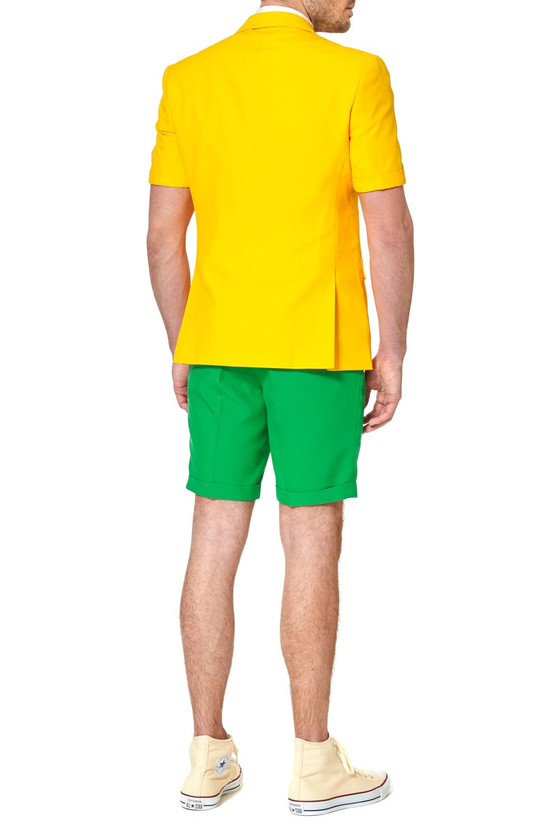 'Summer Green & Gold' Trim Fit Short Suit with Tie,                             Alternate thumbnail 2, color,