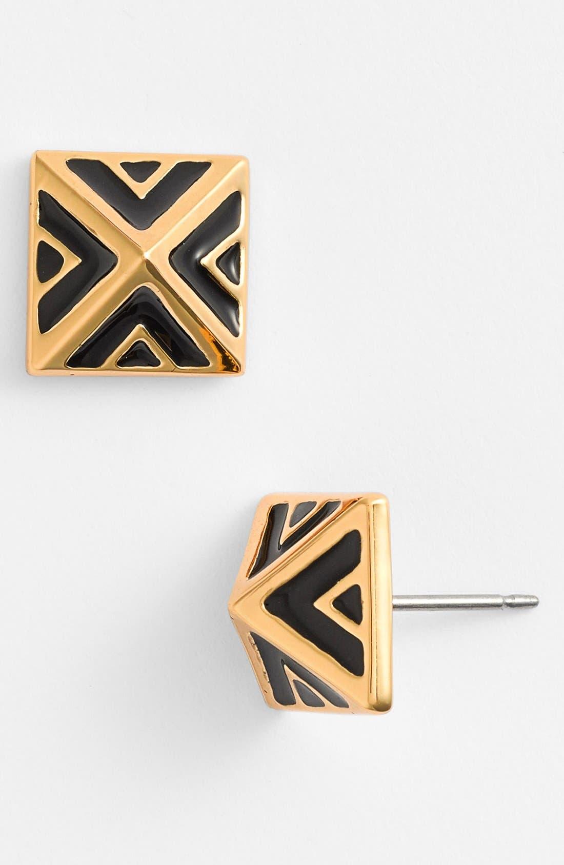 'Micro Geometry' Enamel Pyramid Stud Earrings,                             Main thumbnail 1, color,                             001