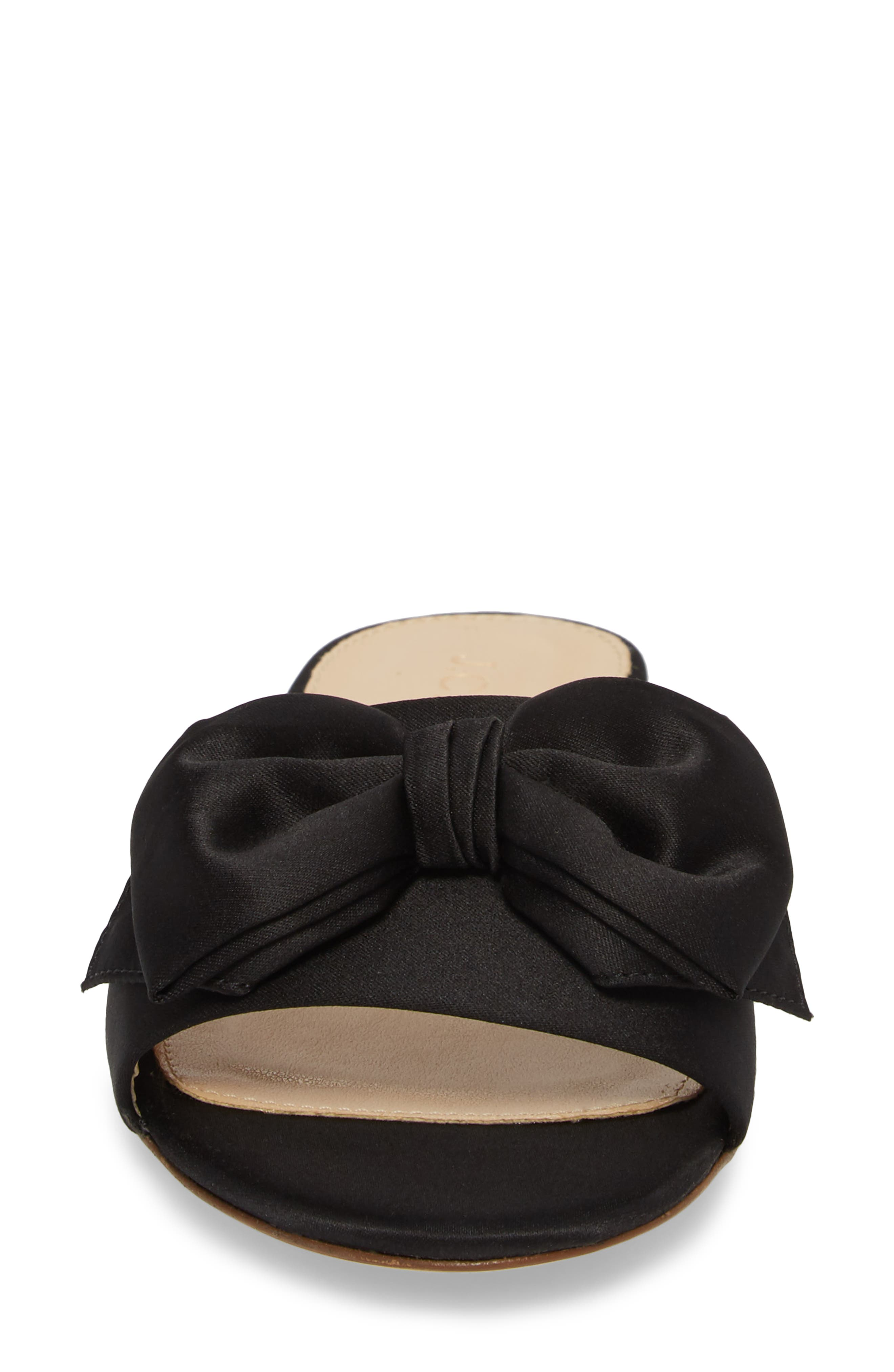 Knotted Satin Bow Slide,                             Alternate thumbnail 4, color,                             001