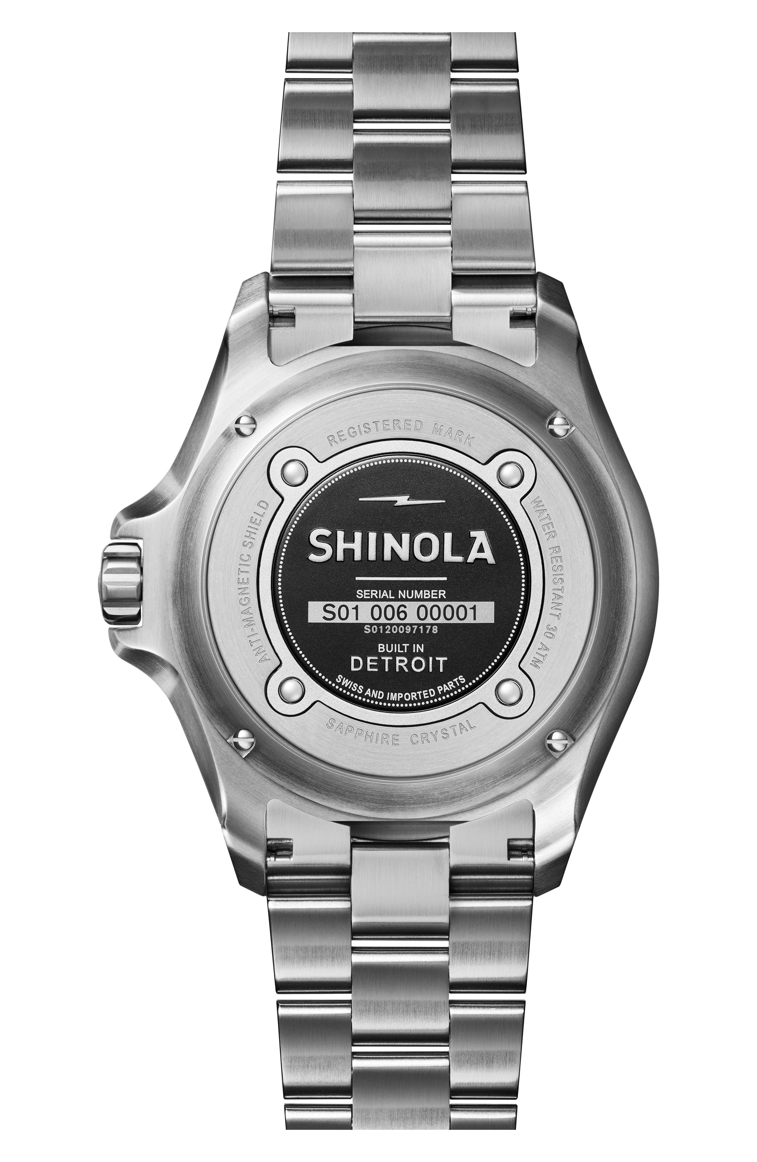 Monster Automatic Bracelet Watch, 43mm,                             Alternate thumbnail 2, color,                             SILVER/ BLACK