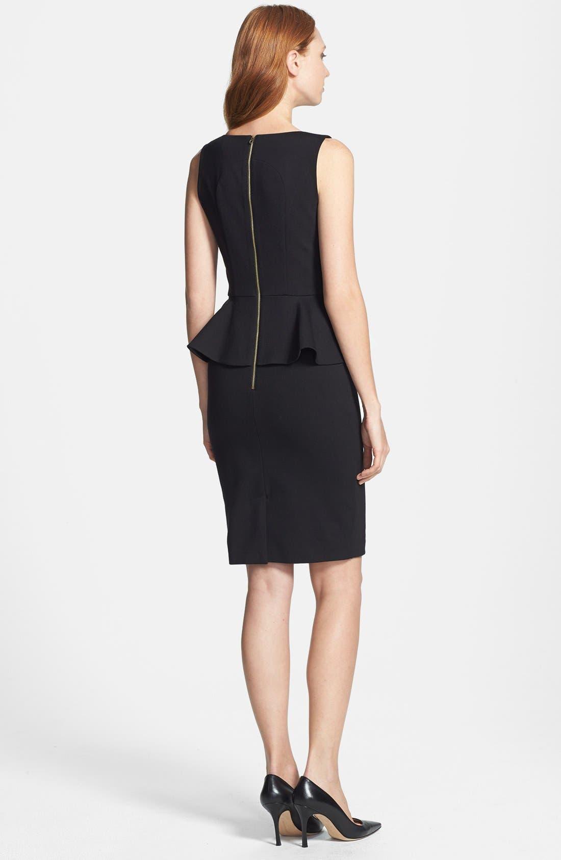 'Fernola' Embellished Peplum Ponte Sheath Dress,                             Alternate thumbnail 2, color,                             001