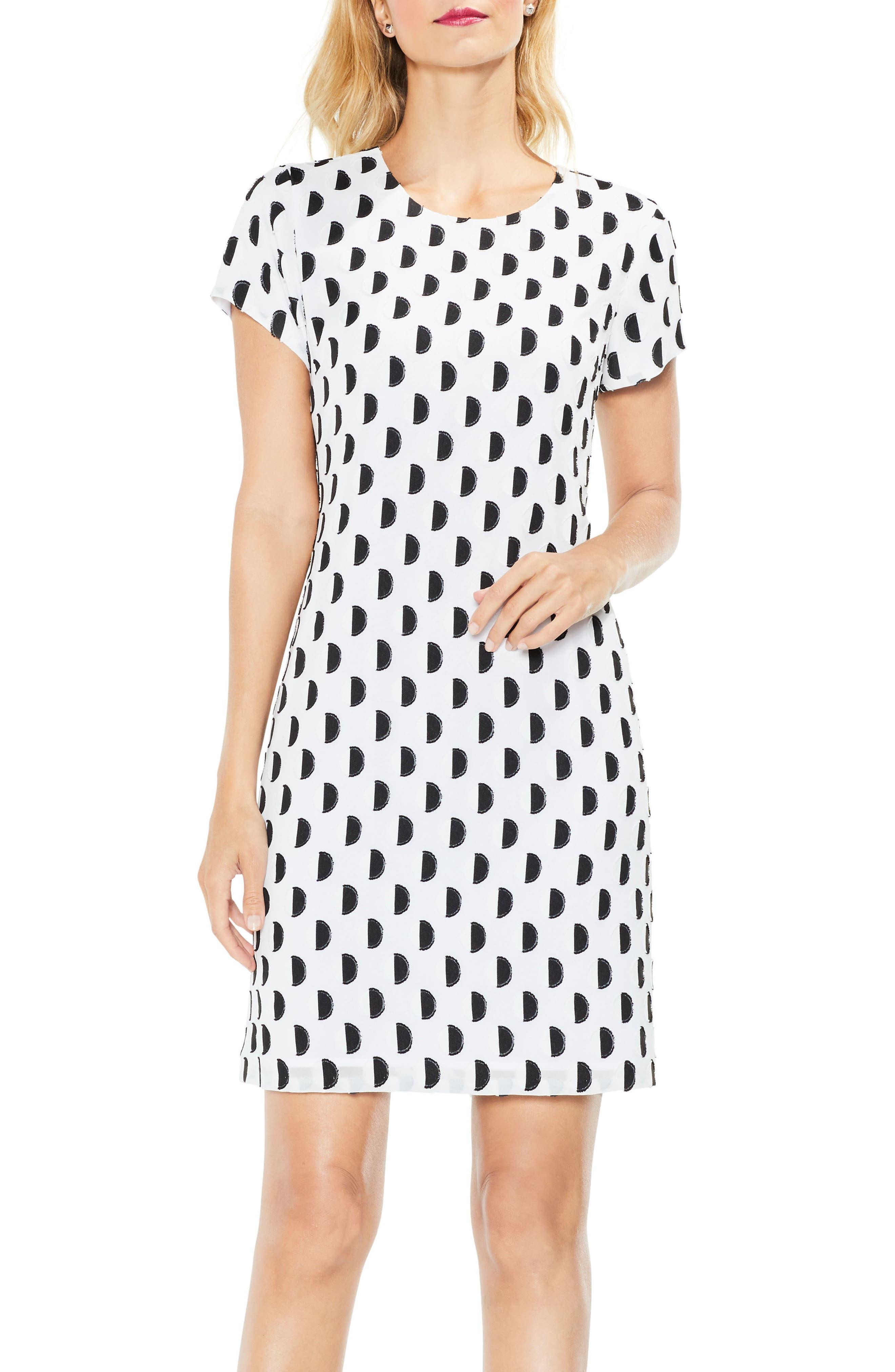Graphic Clip Dot Shift Dress,                         Main,                         color, 103