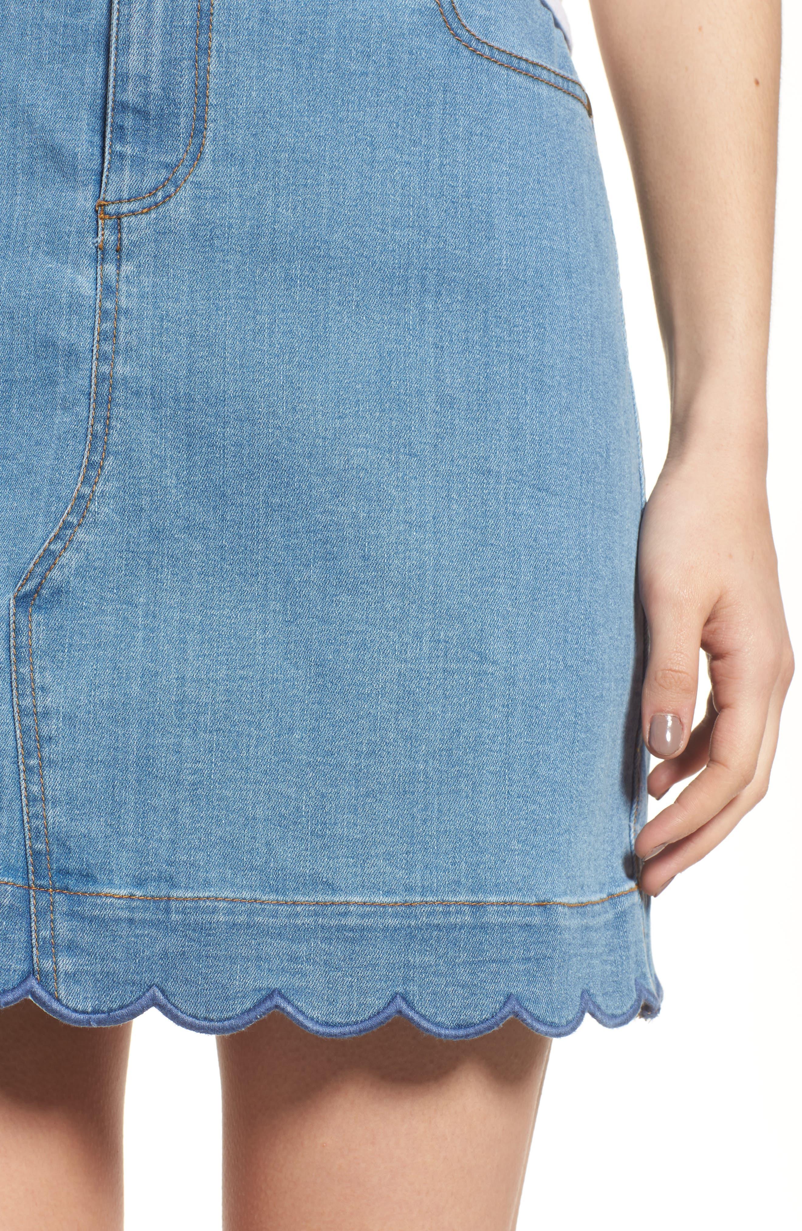Scallop Denim Skirt,                             Alternate thumbnail 4, color,                             420