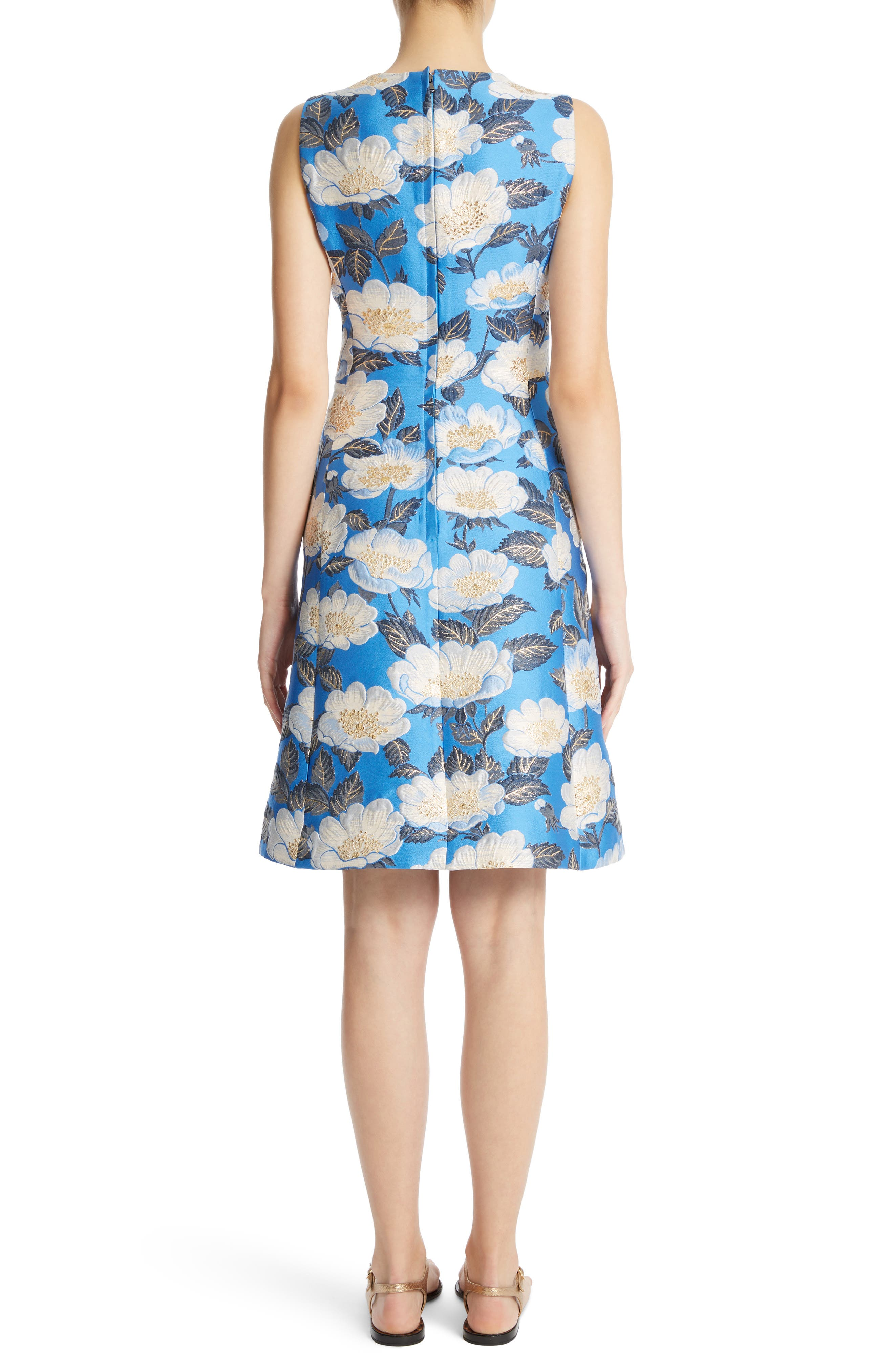Floral Brocade Dress,                             Alternate thumbnail 2, color,                             420