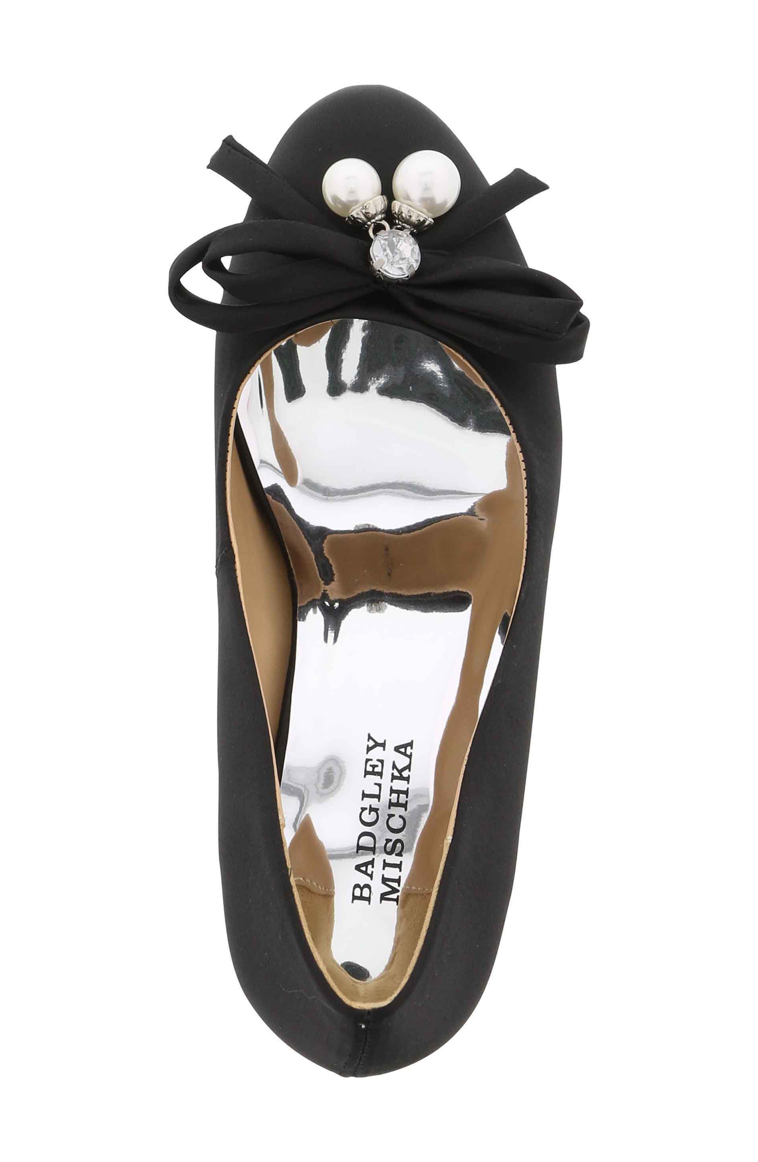 BADGLEY MISCHKA COLLECTION,                             Badgley Mischka Milah Embellished Bow Pump,                             Alternate thumbnail 5, color,                             BLACK