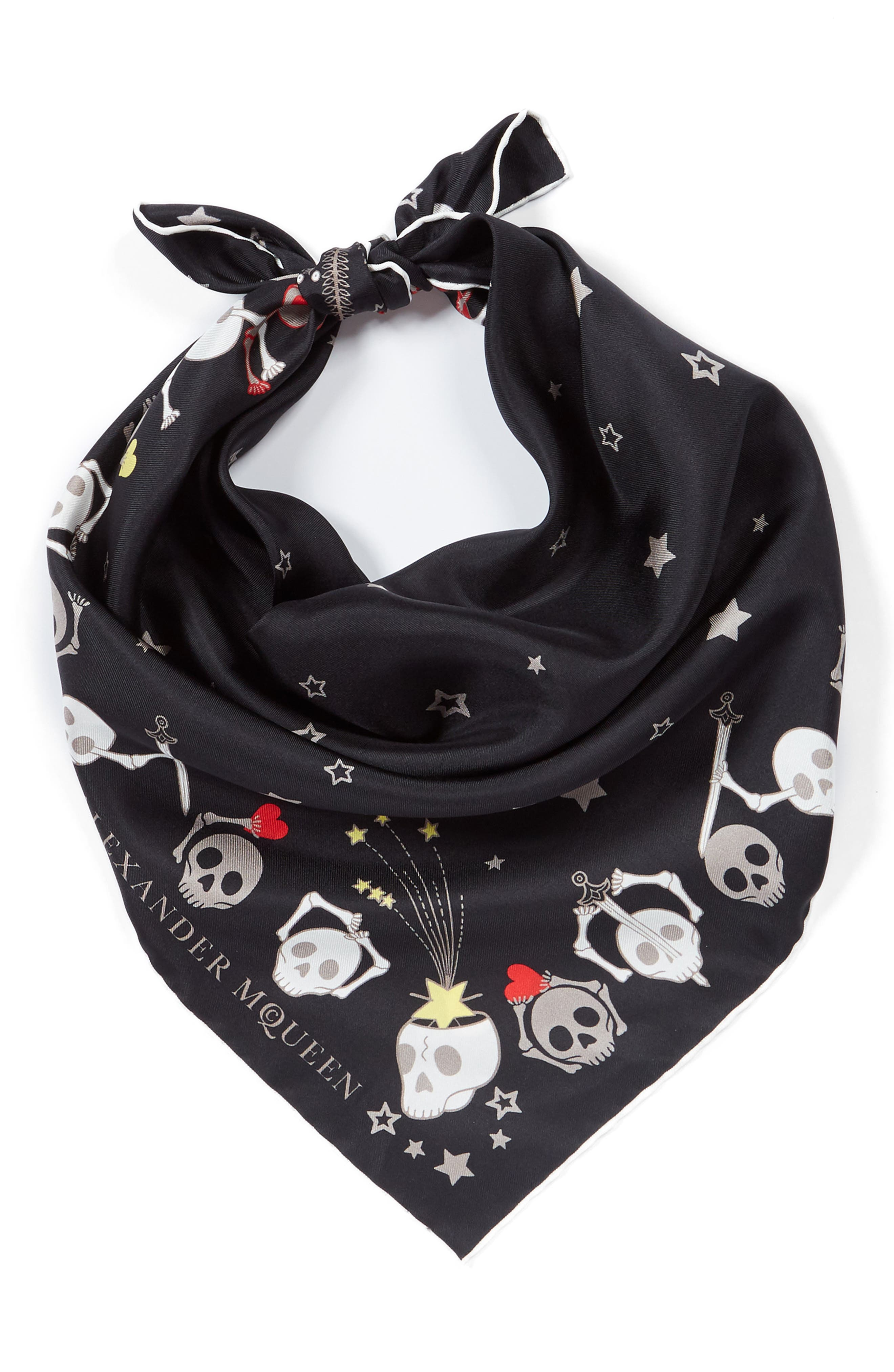 Party Skull Silk Square Scarf,                             Alternate thumbnail 3, color,                             001