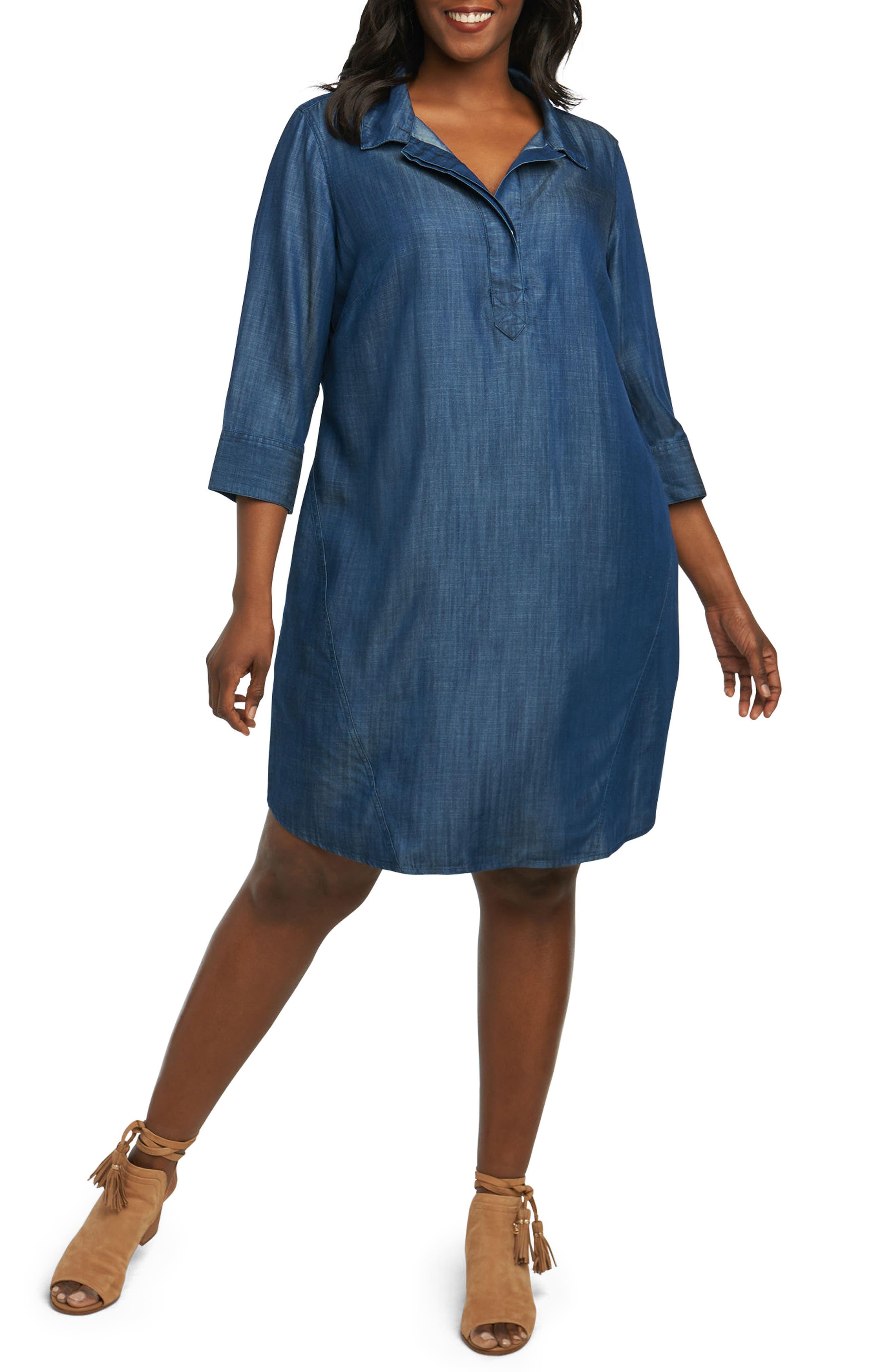 Nicolette Chambray Shift Dress,                             Main thumbnail 1, color,                             415