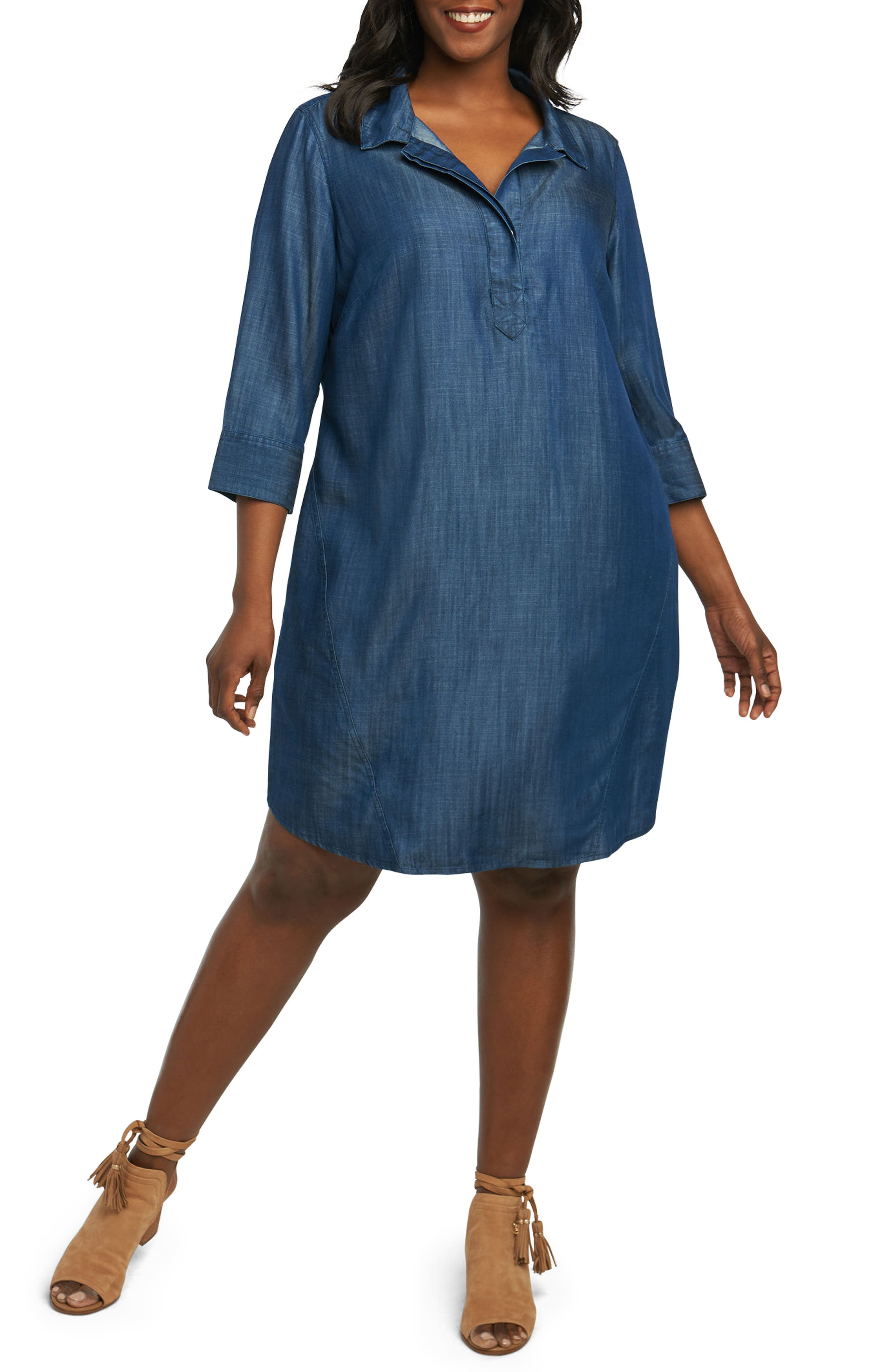 Nicolette Chambray Shift Dress,                         Main,                         color, 415