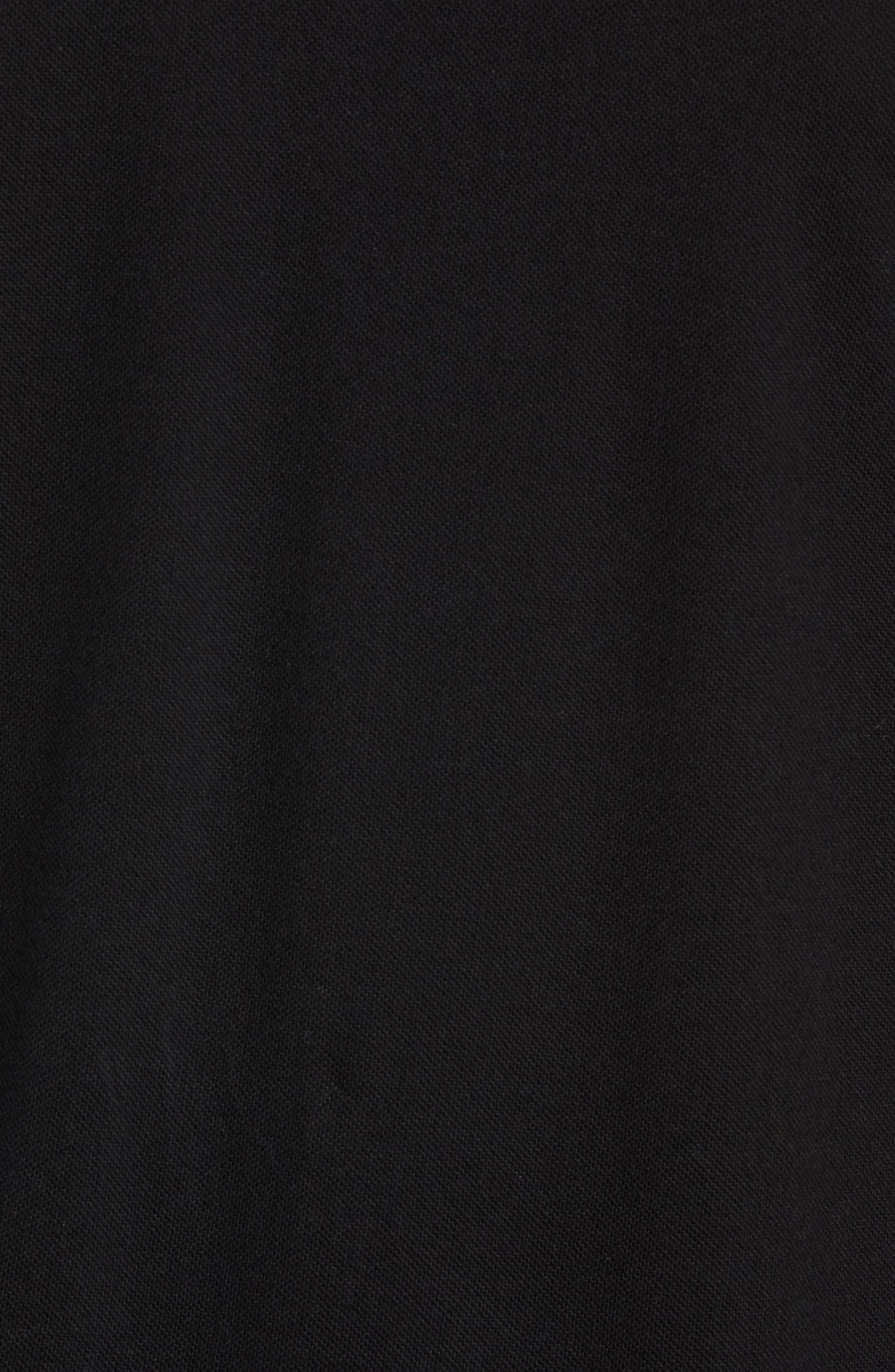 Check Tip Long Sleeve Piqué Polo,                             Alternate thumbnail 5, color,                             BLACK