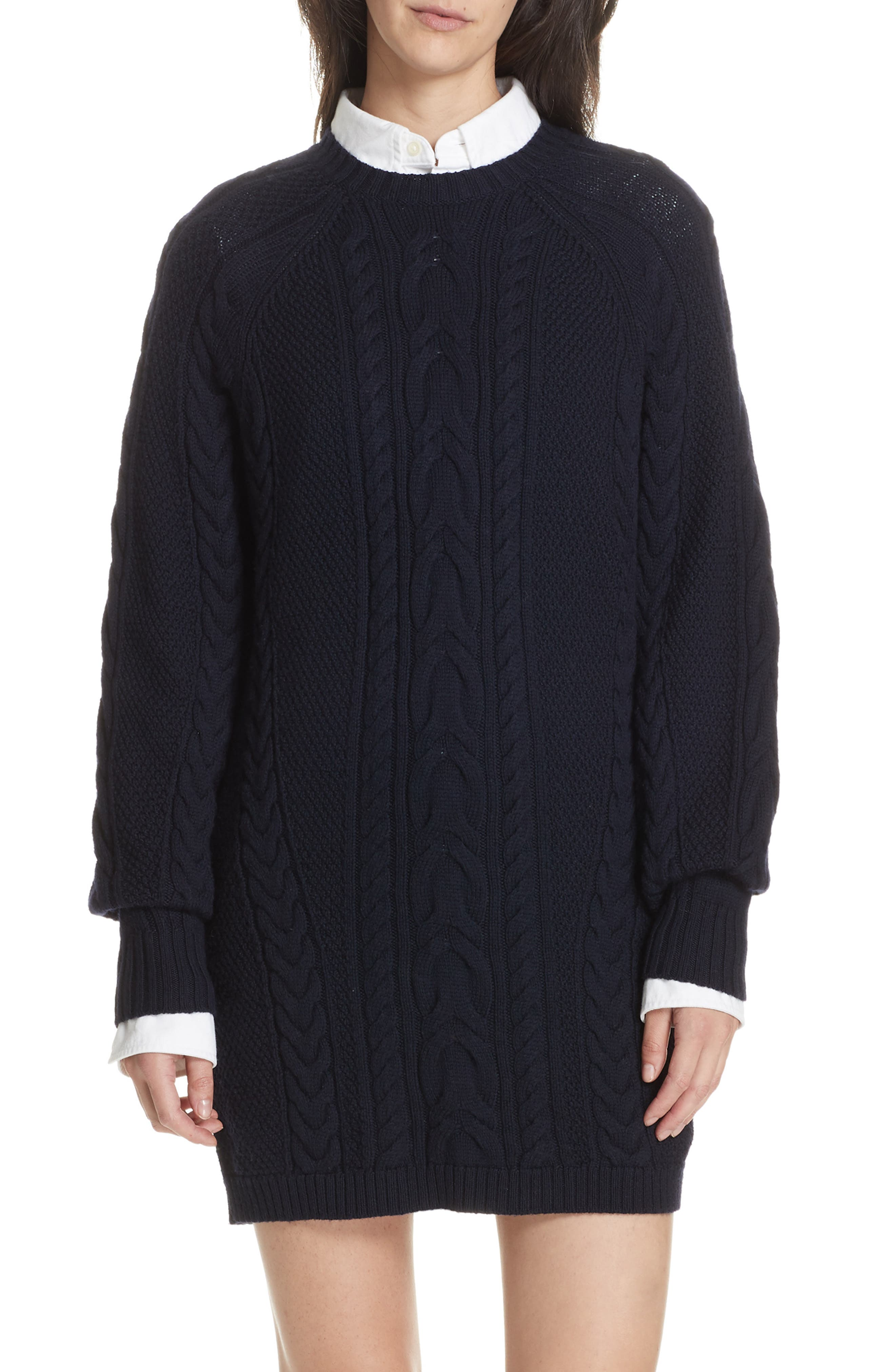 Cable Sweater Dress,                             Main thumbnail 1, color,                             410