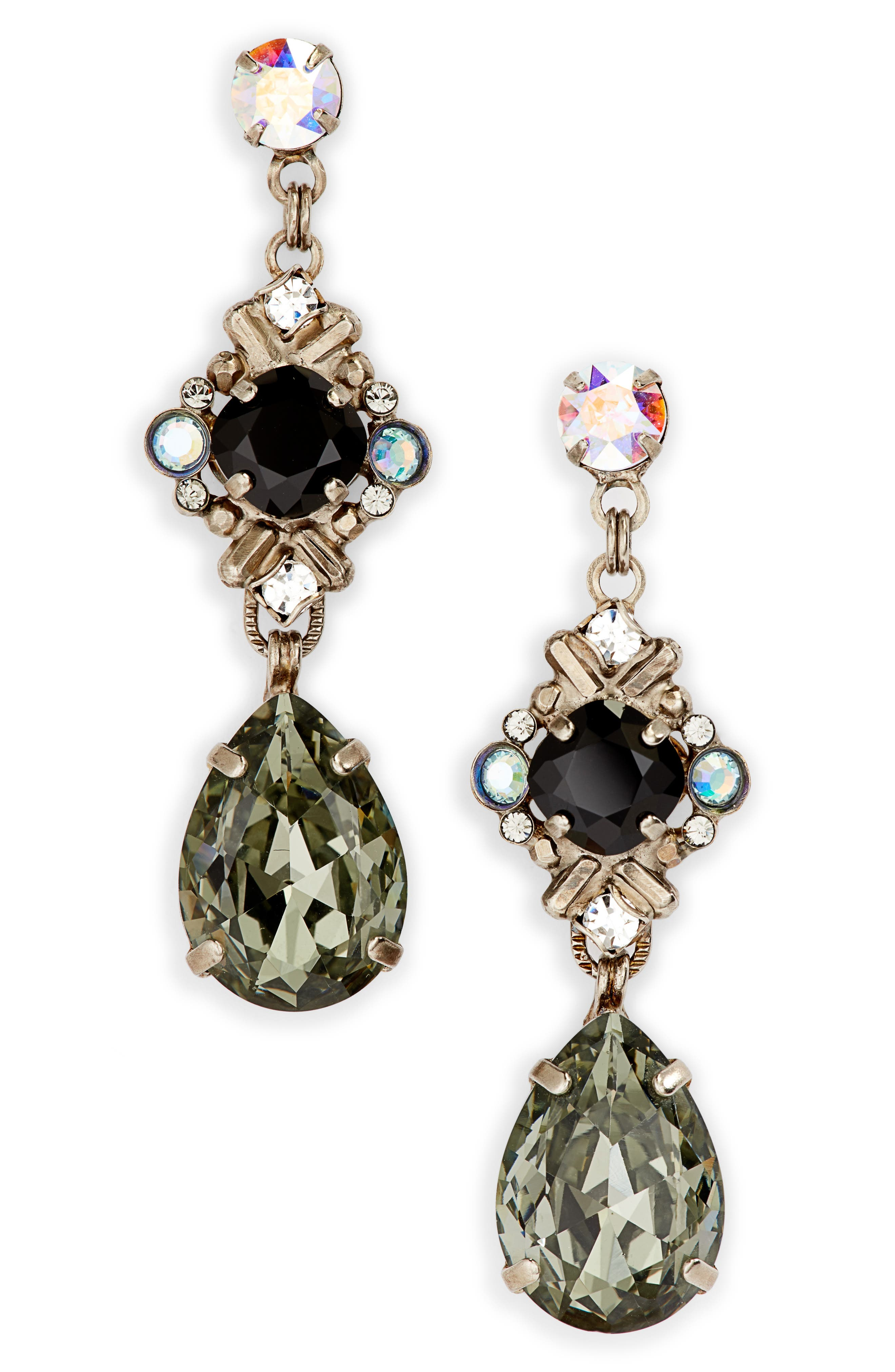 Shielded Crystal Drop Earrings, Main, color, BLACK