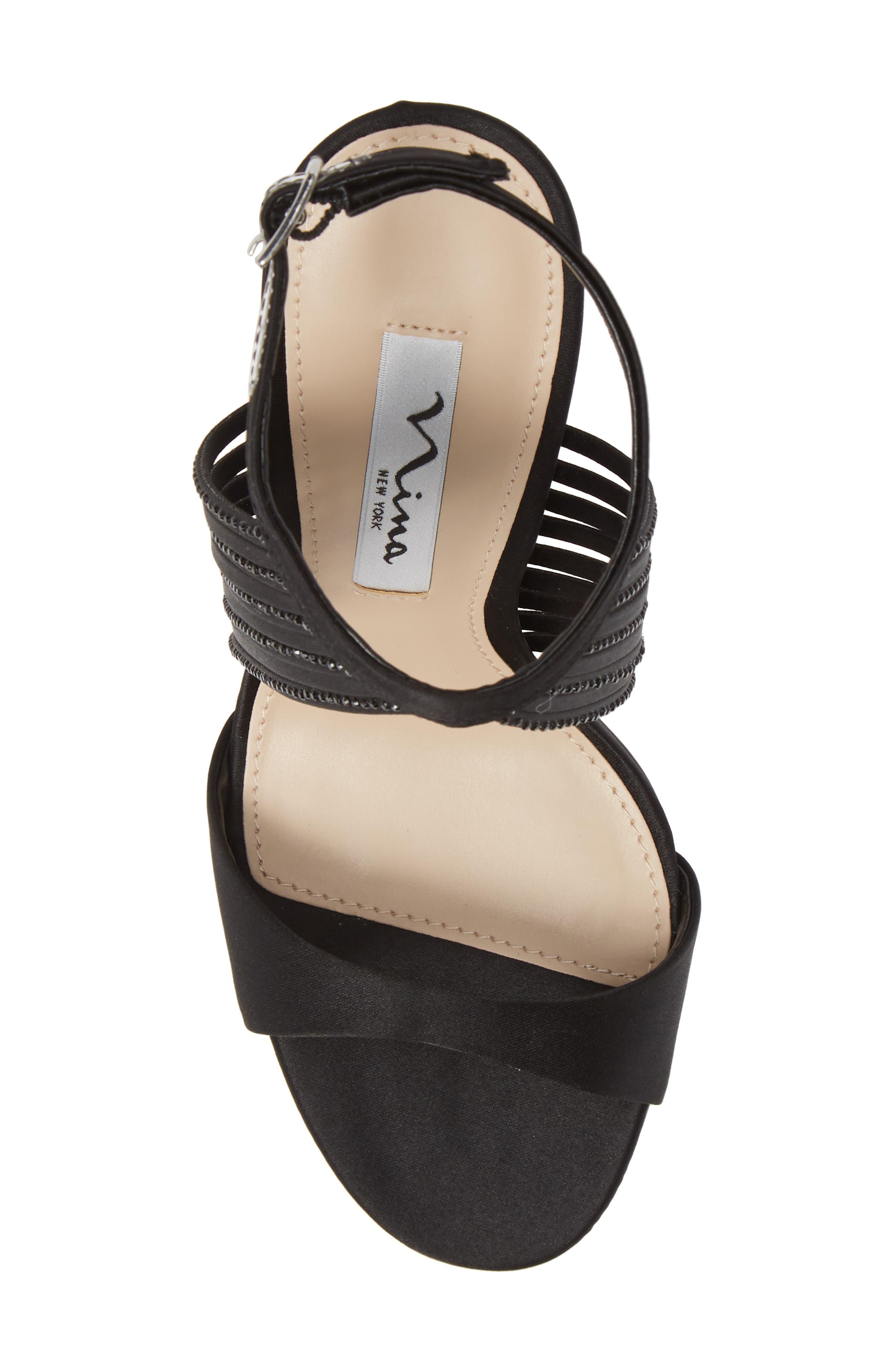 Damaris Crystal Embellished Sandal,                             Alternate thumbnail 5, color,                             BLACK SATIN