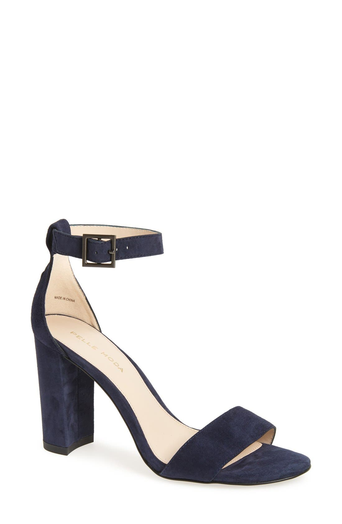 PELLE MODA,                             Bonnie Ankle Strap Sandal,                             Main thumbnail 1, color,                             MIDNIGHT BLUE SUEDE