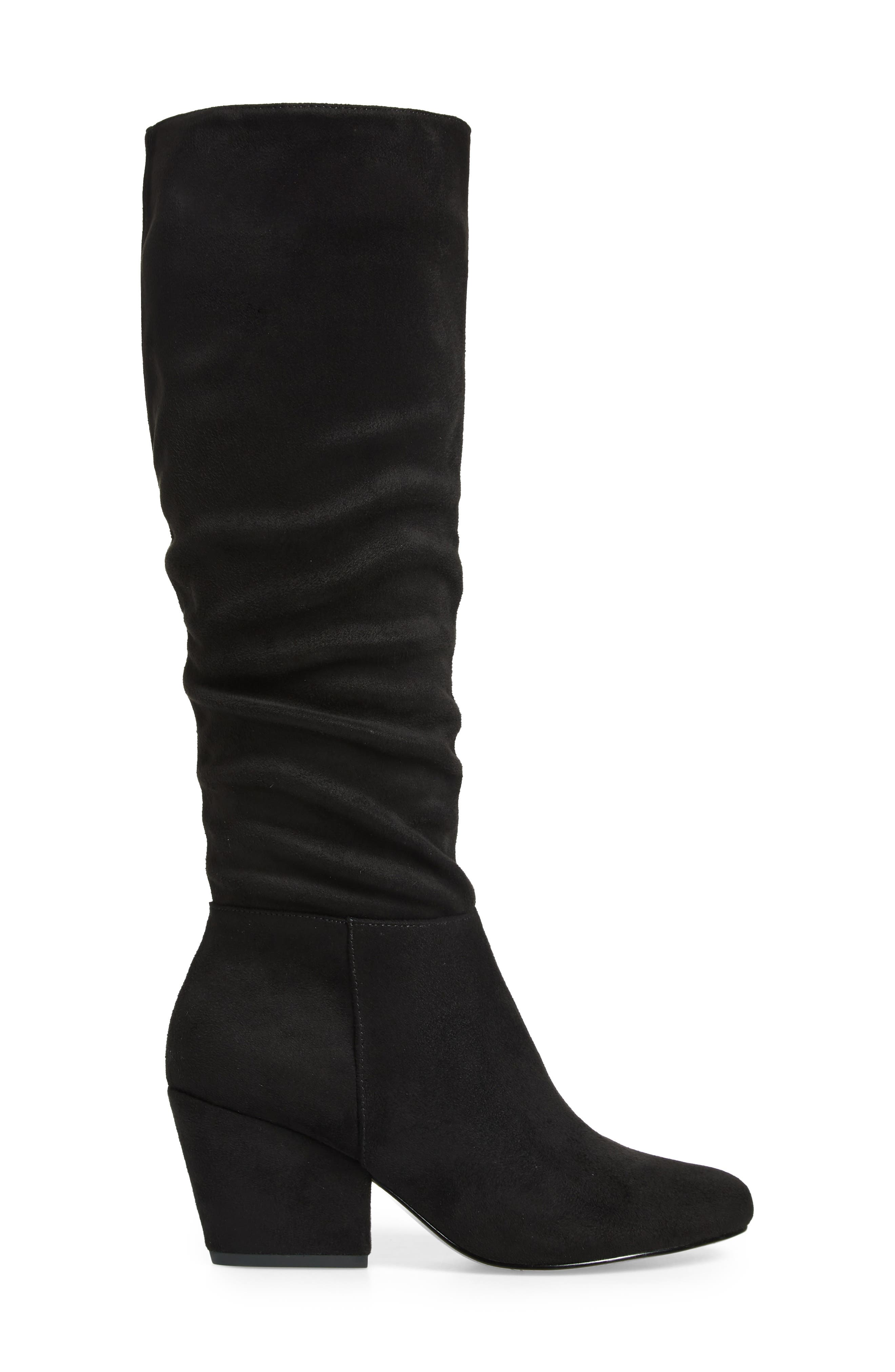 Karen II Knee High Slouch Boot,                             Alternate thumbnail 3, color,                             BLACK FAUX SUEDE