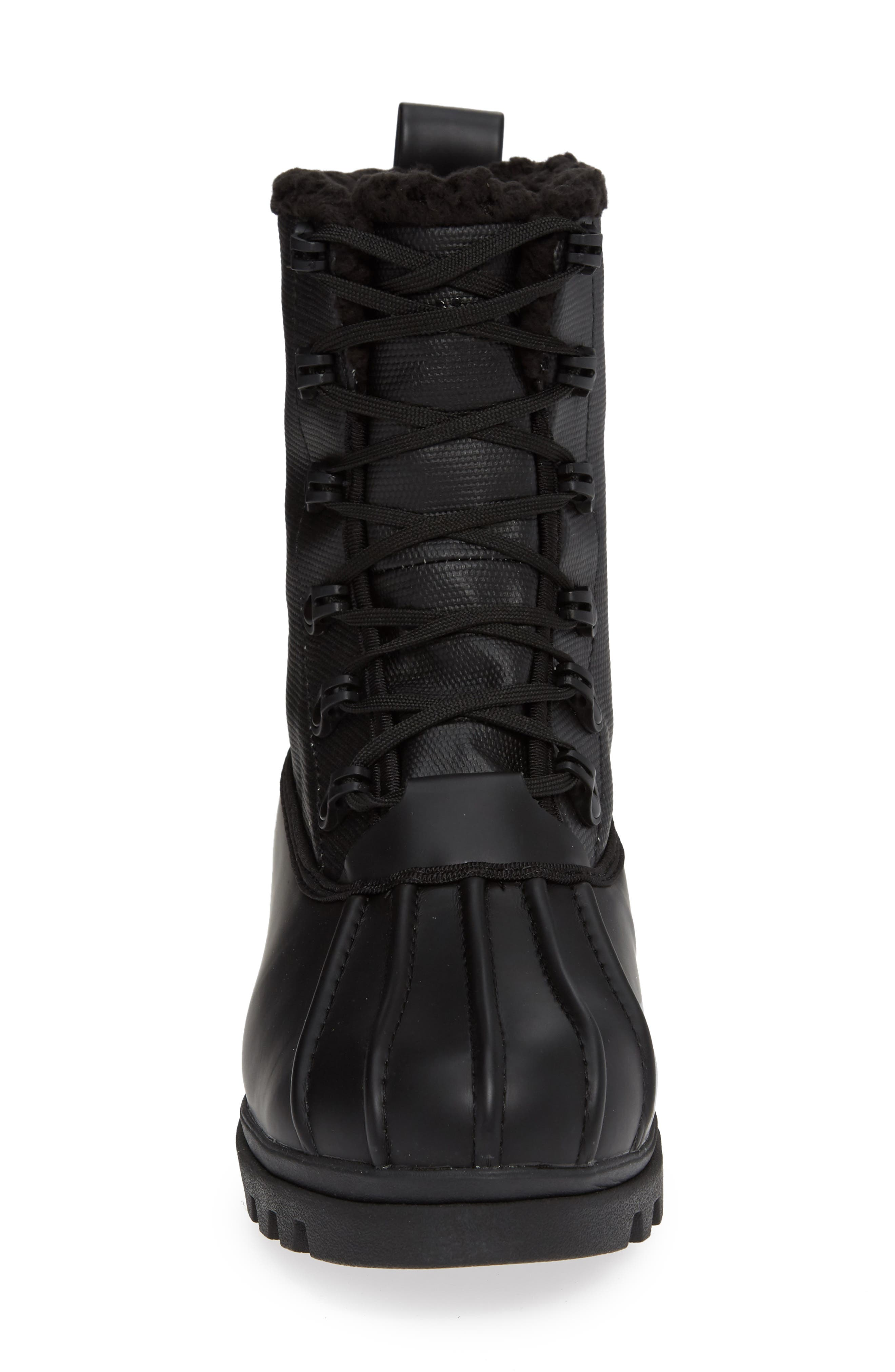Native Jimmy Treklite Water Repellent Boot with Faux Shearling Liner,                             Alternate thumbnail 4, color,                             JIFFY BLACK/ JIFFY BLACK