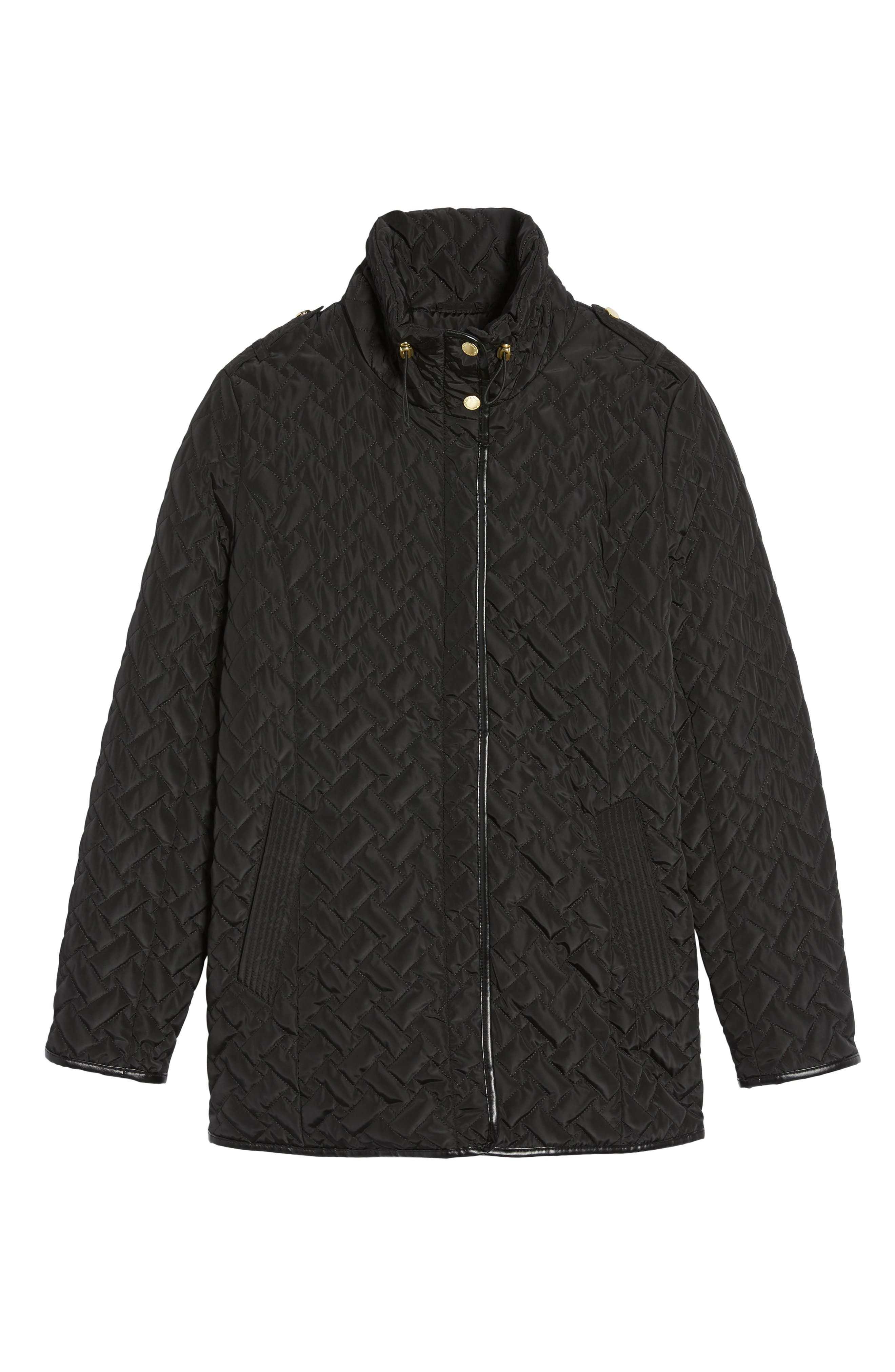Cole Haan Quilted Jacket,                             Alternate thumbnail 5, color,                             001
