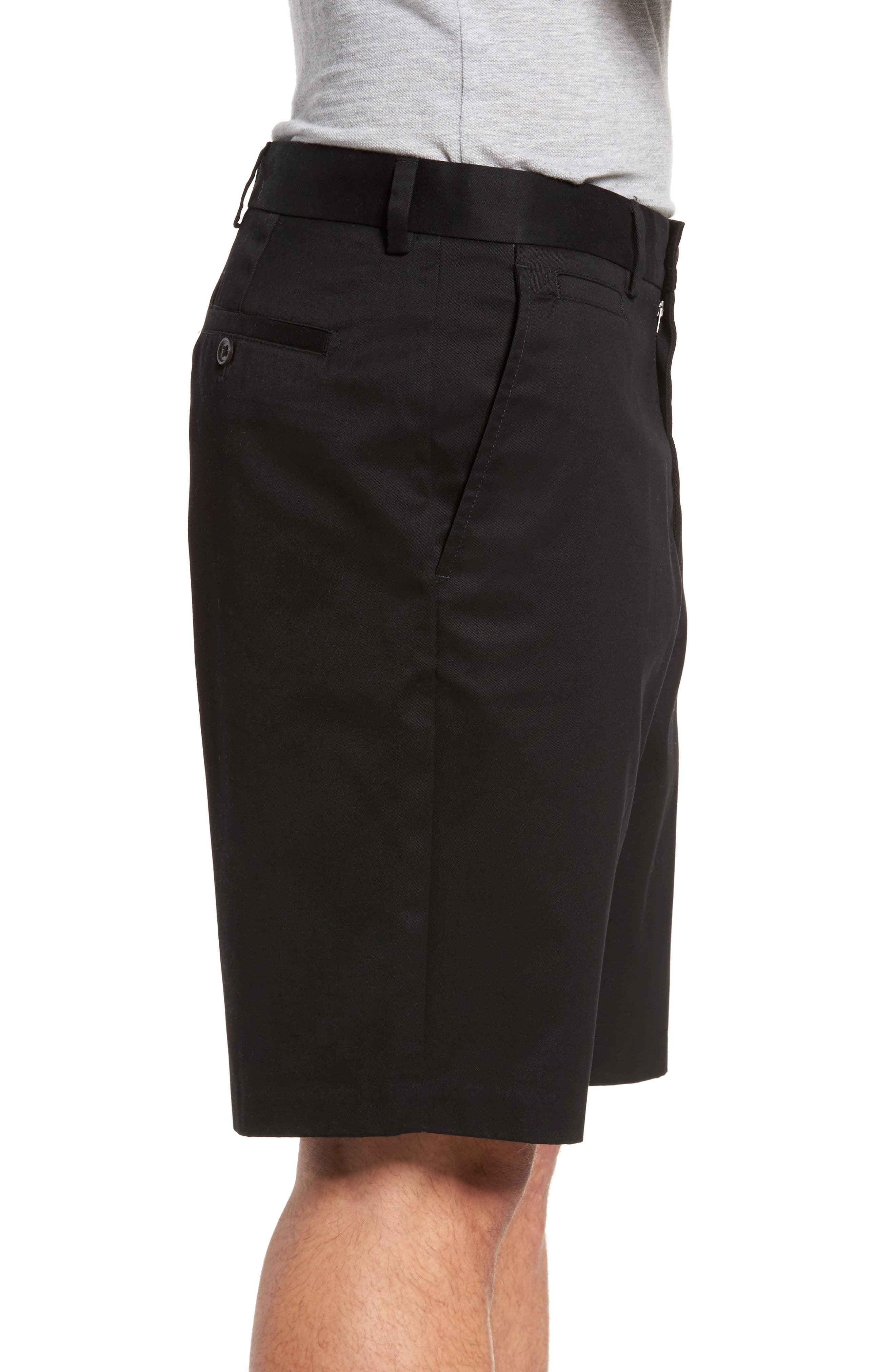 Smartcare<sup>™</sup> Flat Front Shorts,                             Alternate thumbnail 3, color,                             BLACK