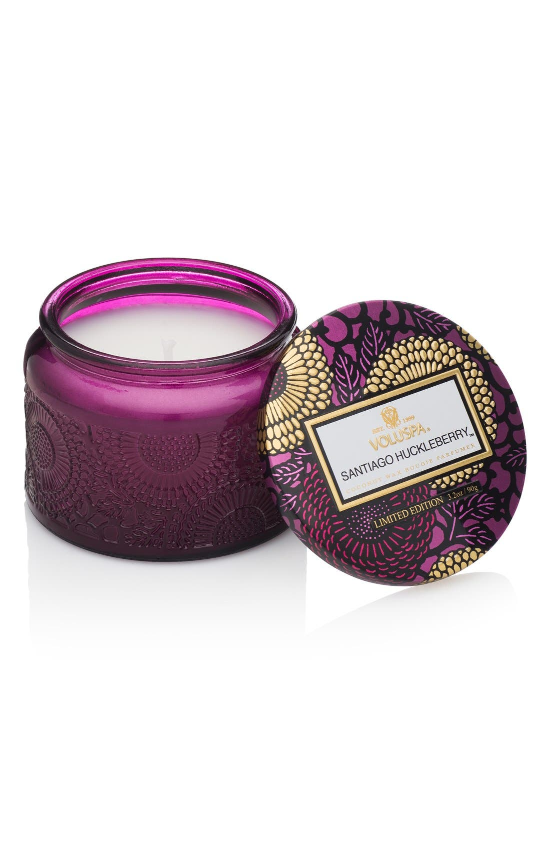 Japonica Santiago Huckleberry Petite Embossed Glass Jar Candle,                         Main,                         color, NO COLOR