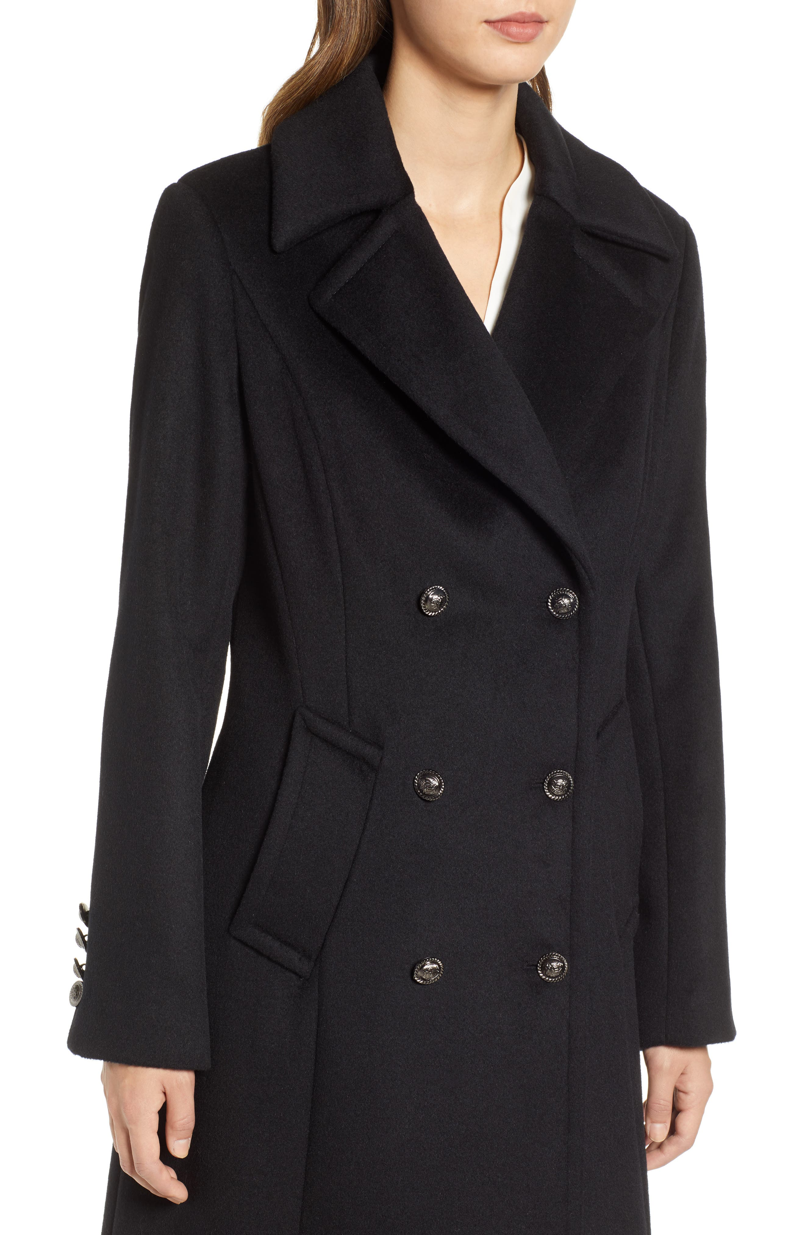 1 MADISON,                             Double Breasted Military Wool Coat with Genuine Fox Fur Shawl,                             Alternate thumbnail 4, color,                             BLACK