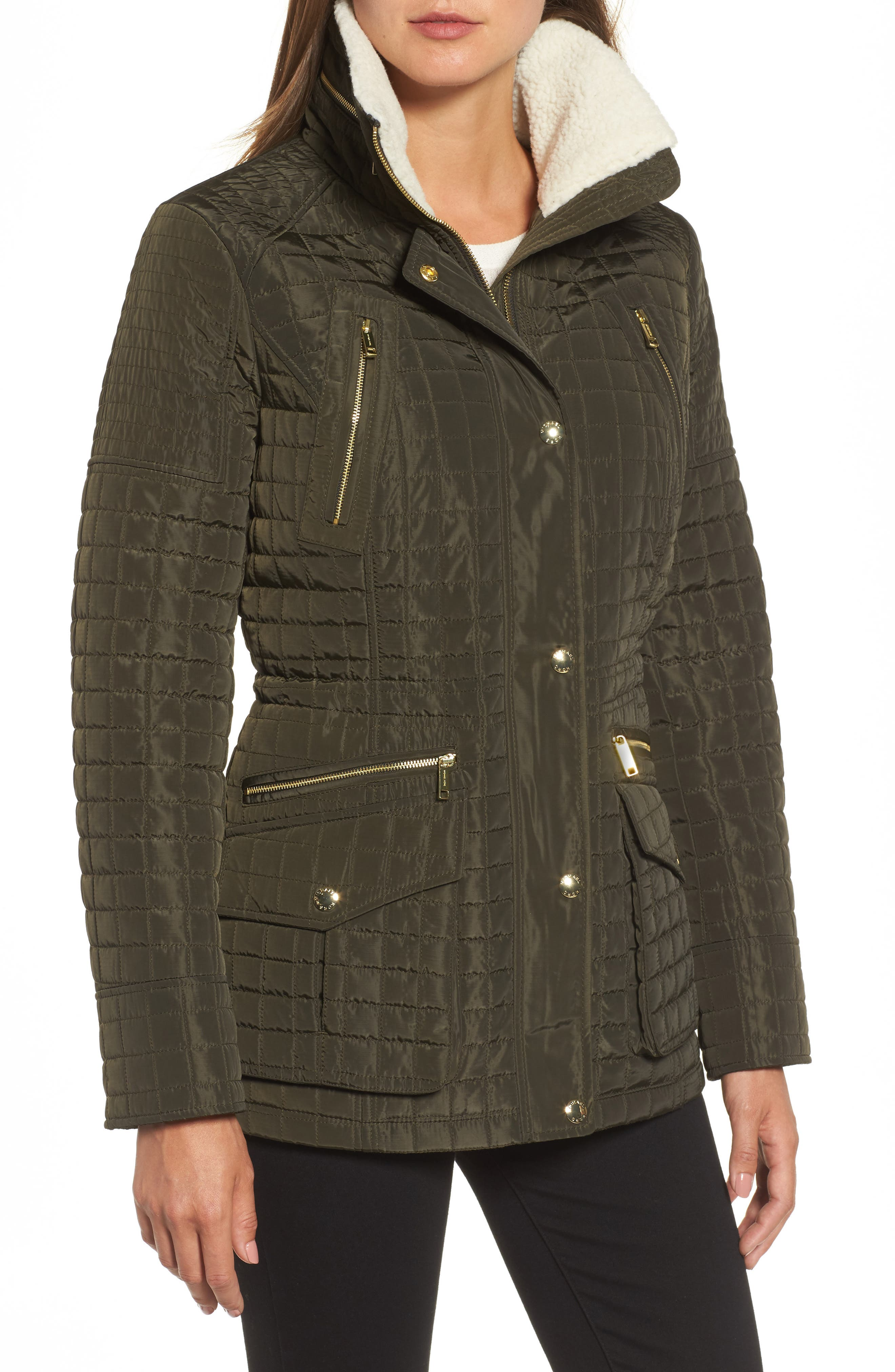 Water Resistant Quilted Anorak with Faux Shearling Trim,                             Alternate thumbnail 4, color,                             377