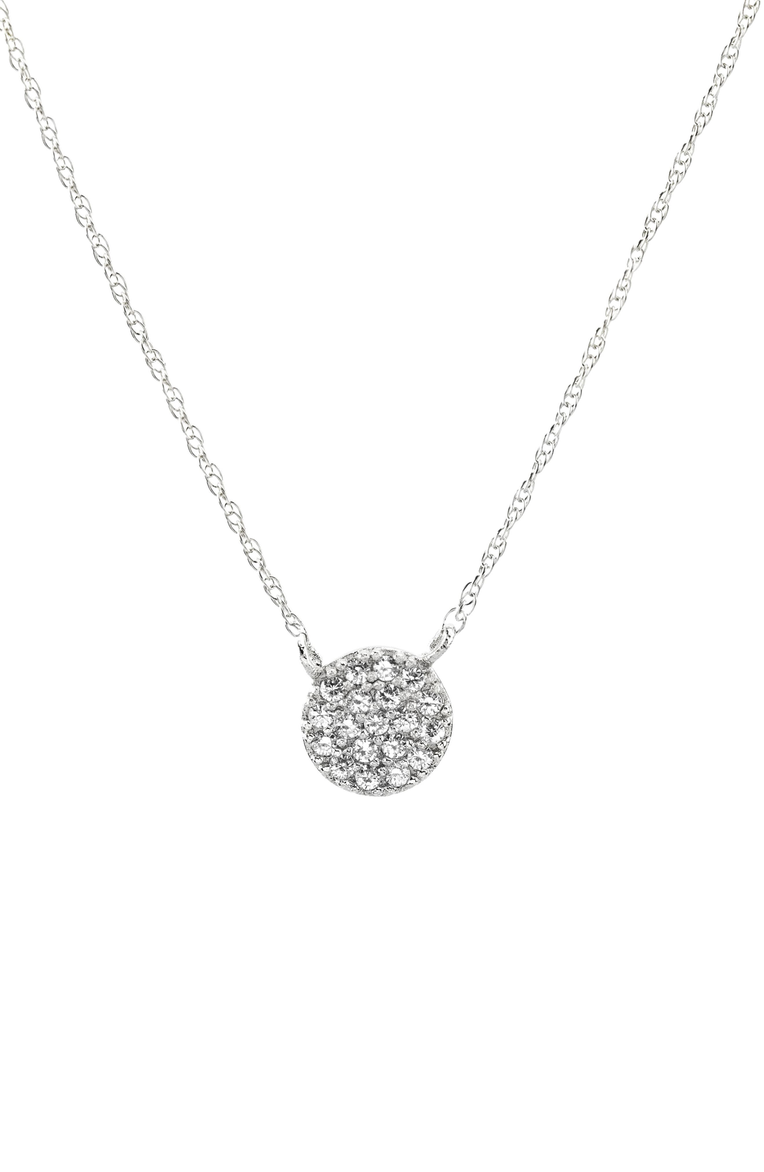 Pavé Round Charm Necklace,                         Main,                         color, 040