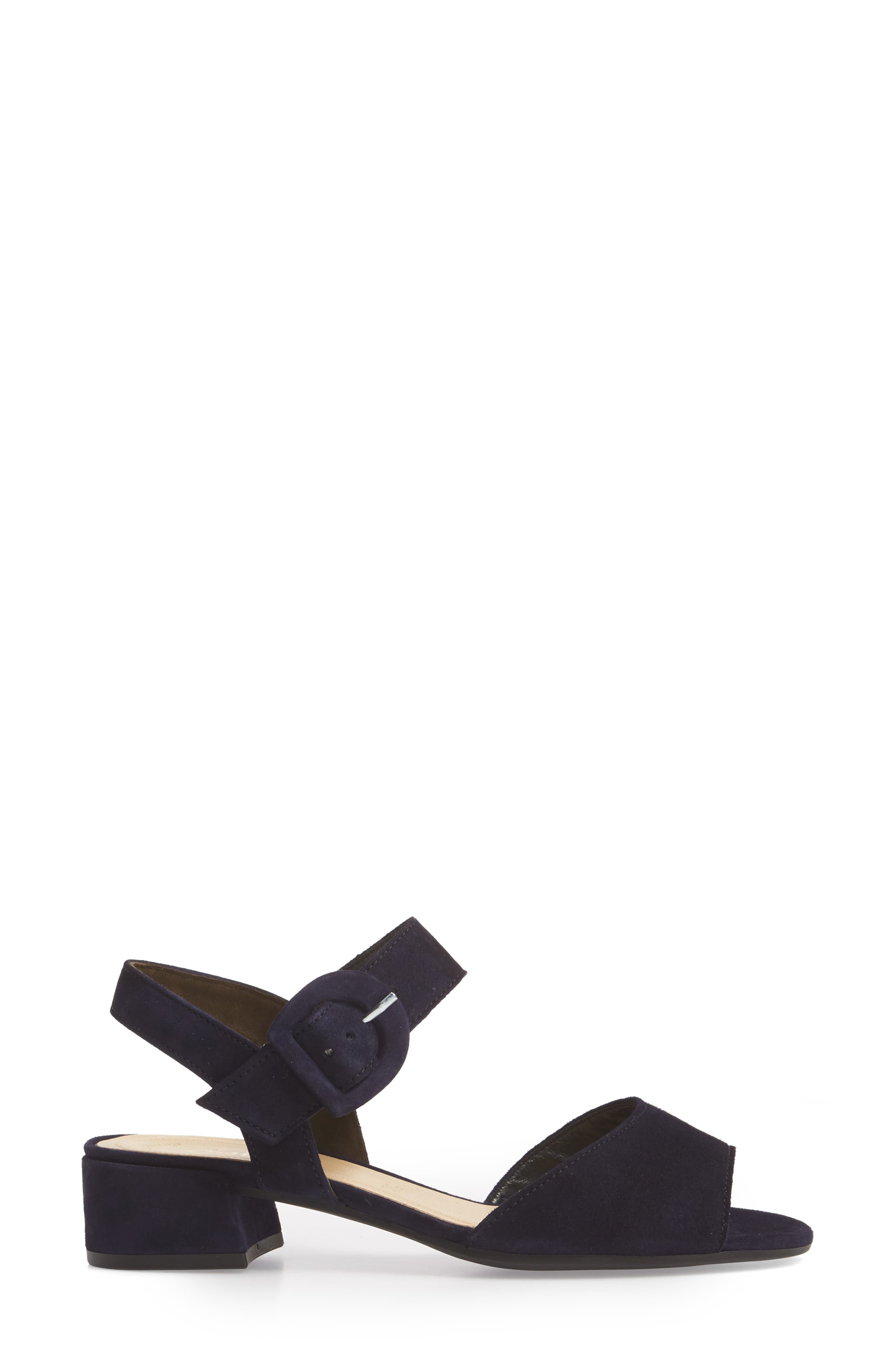 Block Heel Sandal,                             Alternate thumbnail 3, color,                             NAVY SUEDE