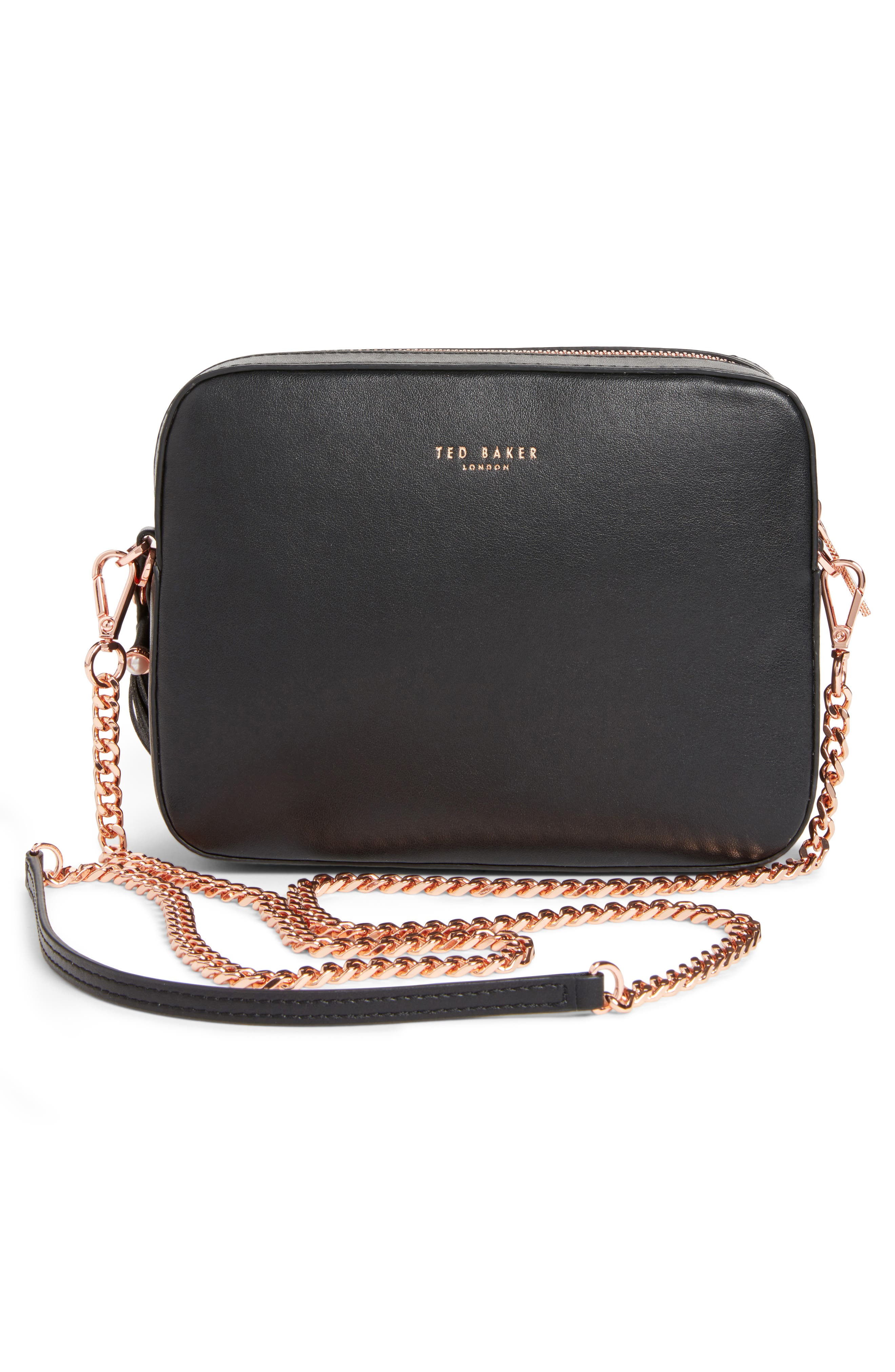 Alessia Imitation Pearl Embellished Leather Crossbody,                             Alternate thumbnail 3, color,                             001