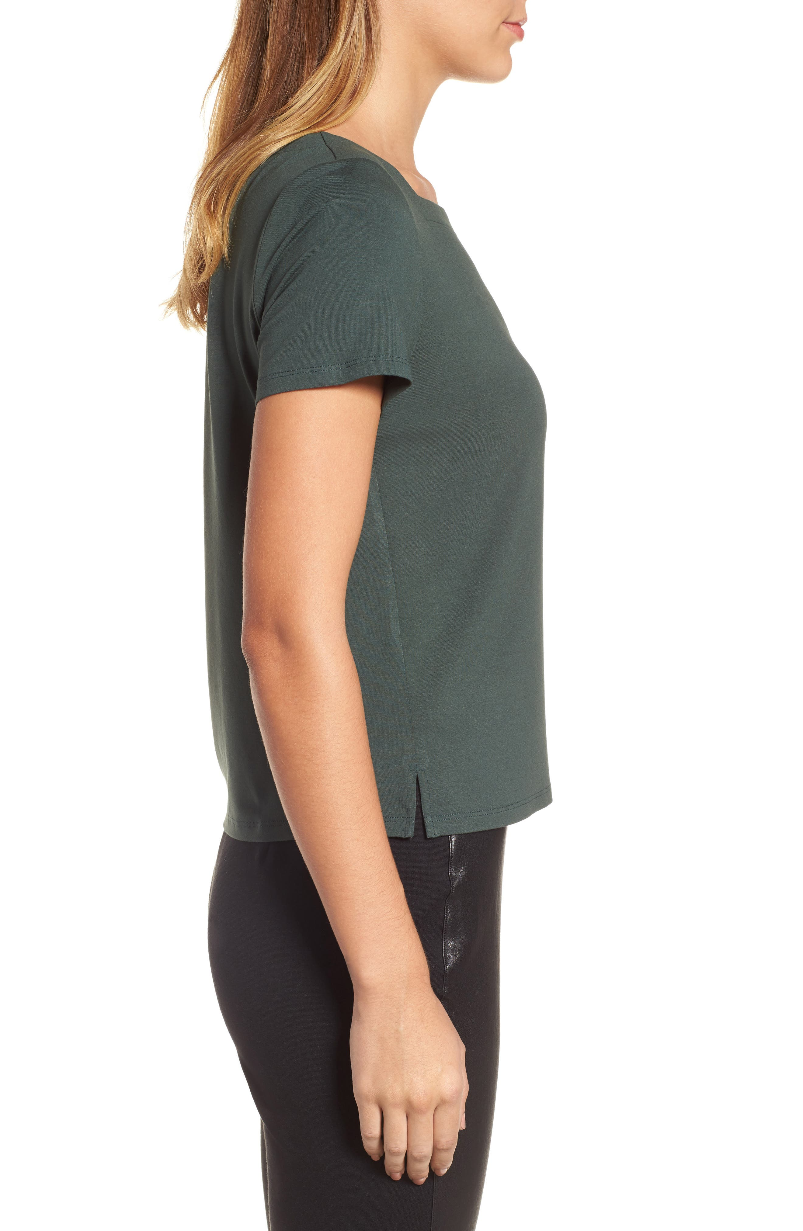 EILEEN FISHER,                             Square Neck Jersey Top,                             Alternate thumbnail 3, color,                             351
