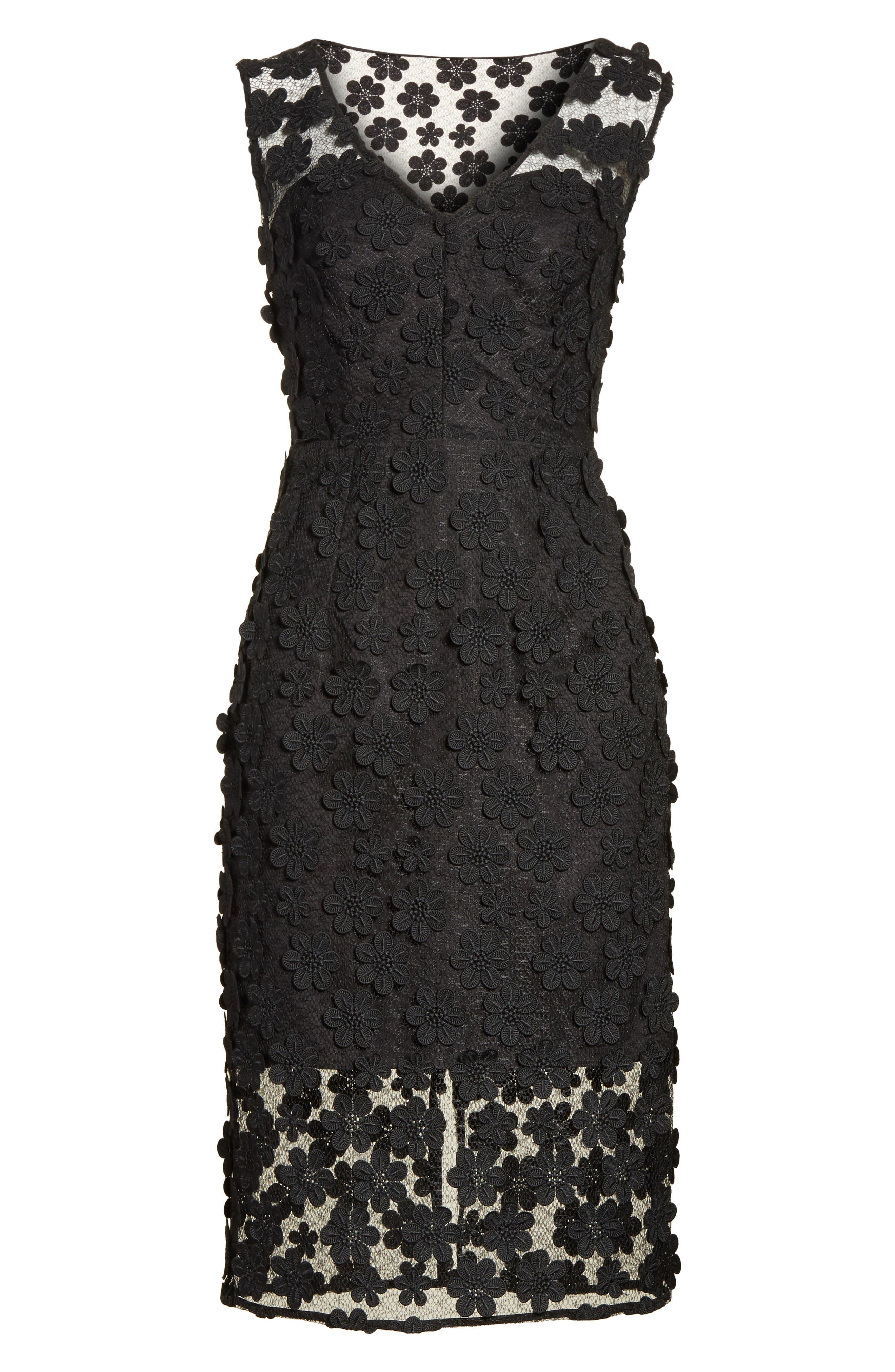 Mari Floral Appliqué Sheath Dress,                             Alternate thumbnail 6, color,                             001