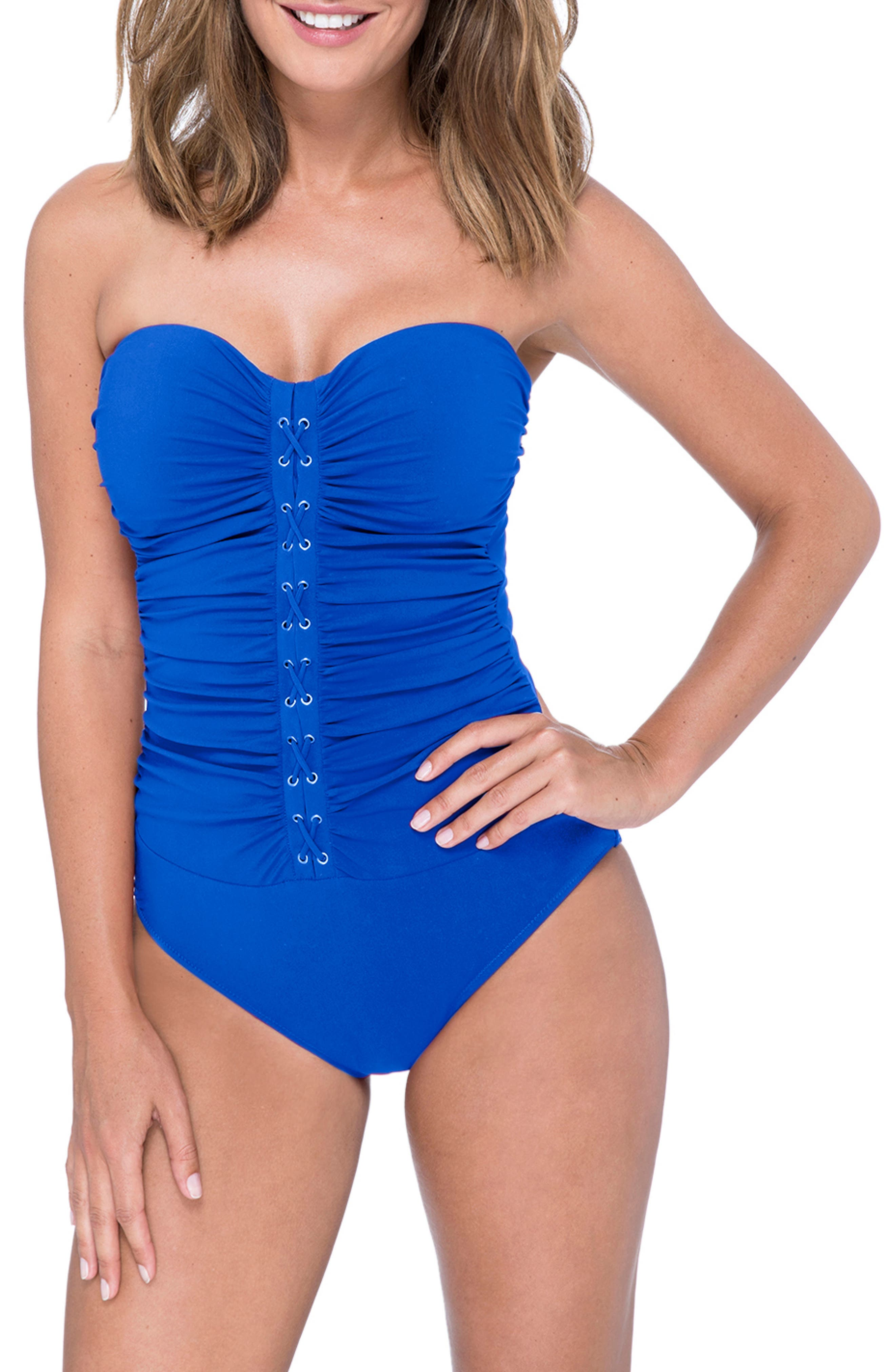 Lace-Up Strapless One-Piece Swimsuit,                         Main,                         color, SAPPHIRE