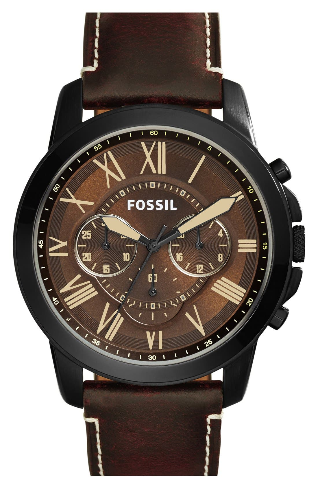 'Grant' Chronograph Leather Strap Watch, 45mm,                             Main thumbnail 3, color,