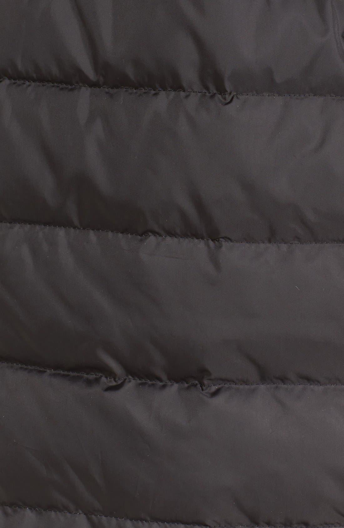 Faux Fur Trim Down Coat,                             Alternate thumbnail 5, color,                             001