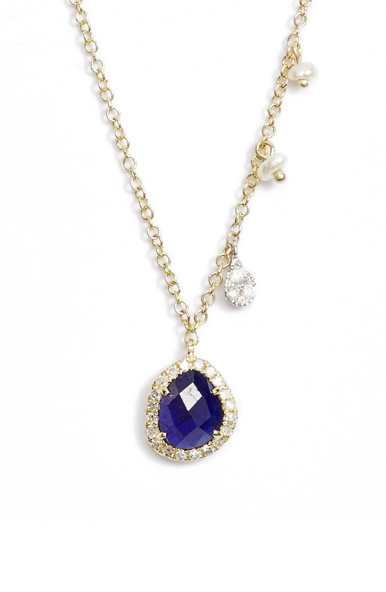 Mini Stone Diamond Pendant Necklace,                             Alternate thumbnail 2, color,                             YELLOW GOLD/ BLUE SAPPHIRE