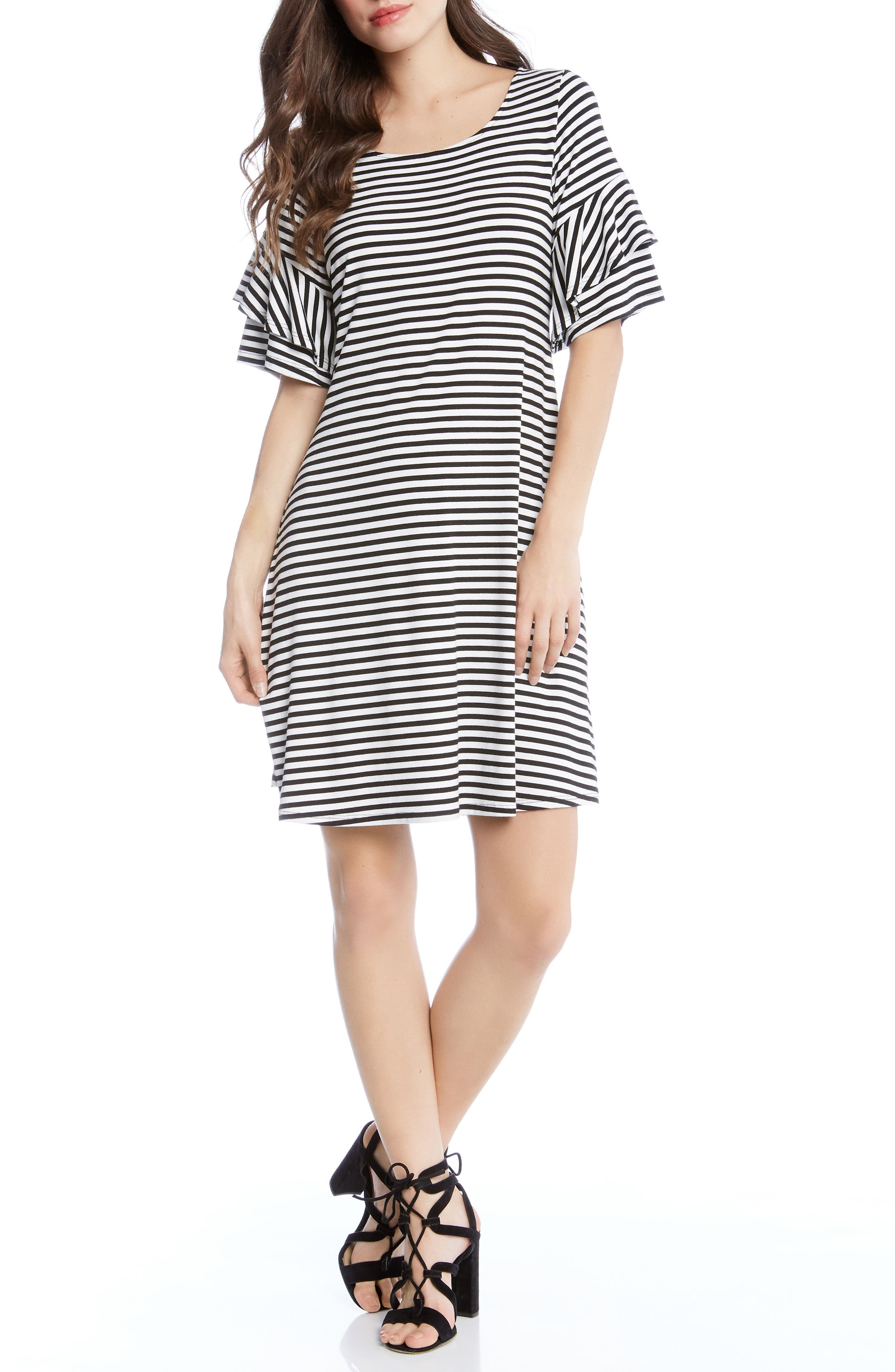 Ruffle Sleeve Stripe Dress,                             Main thumbnail 1, color,                             001