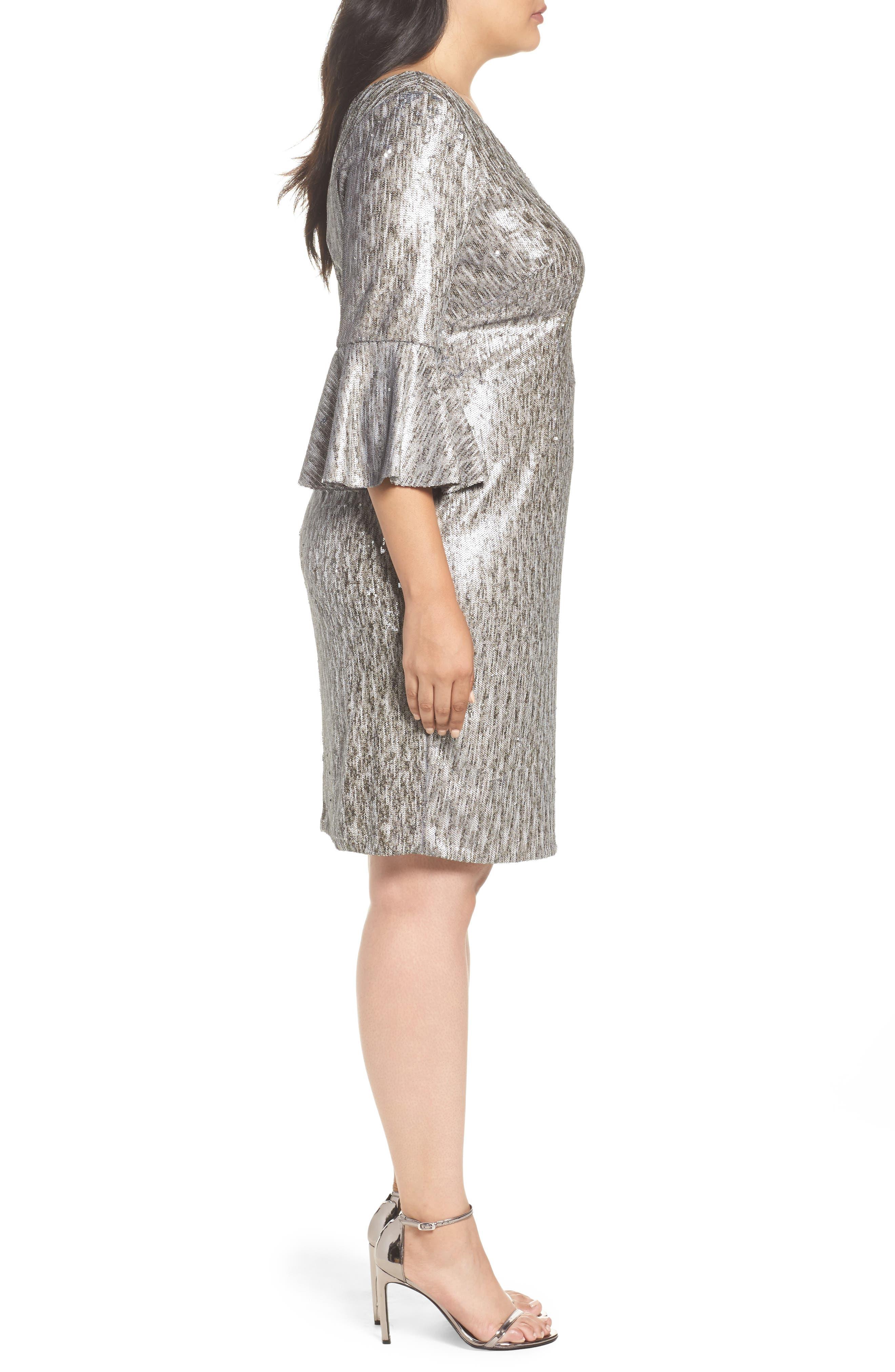 Bell Sleeve Sequin Sheath Dress,                             Alternate thumbnail 3, color,                             080