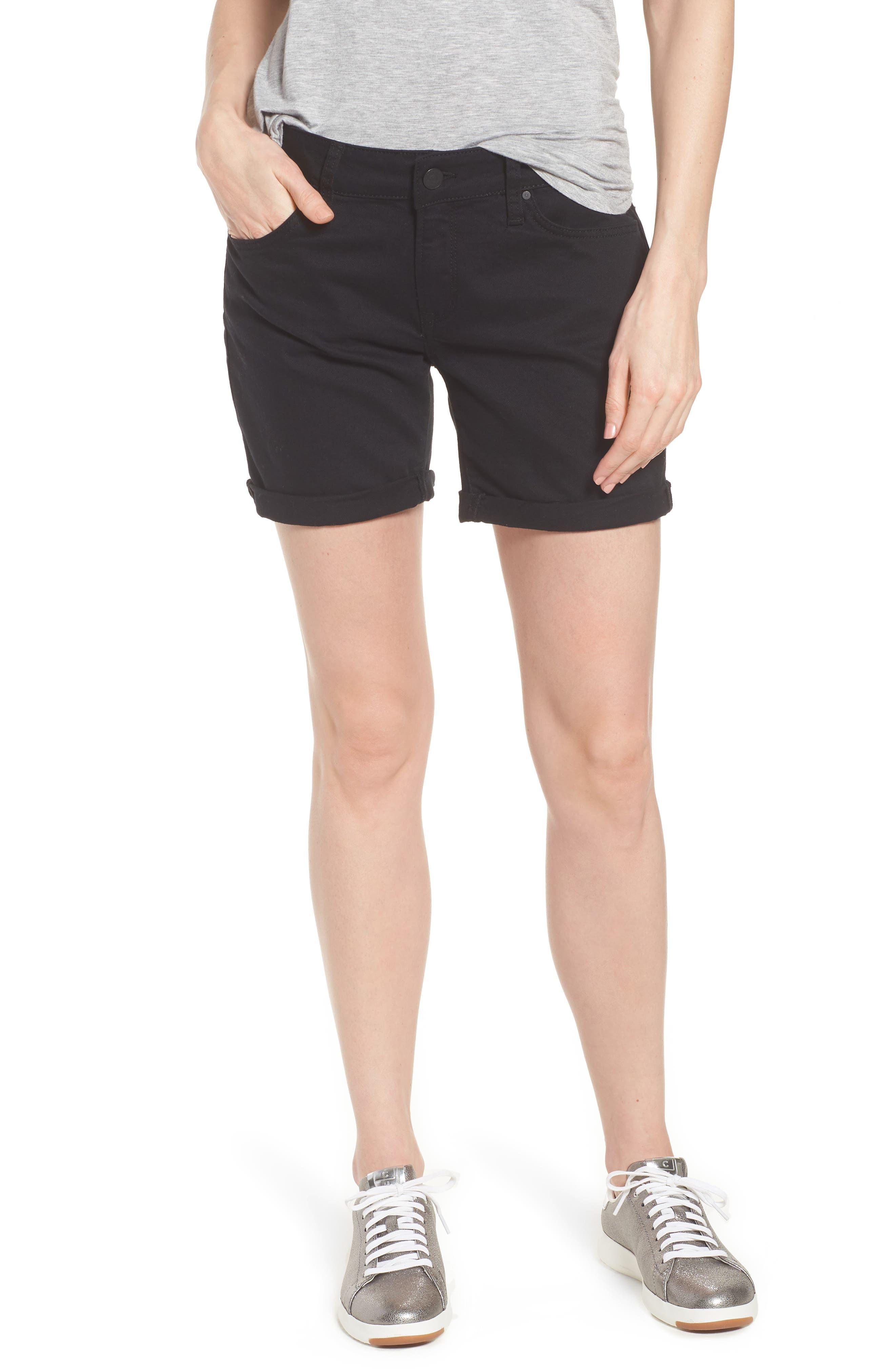 Mavi Pixie Roll Cuff Denim Shorts,                             Main thumbnail 1, color,                             BLACK NOLITA