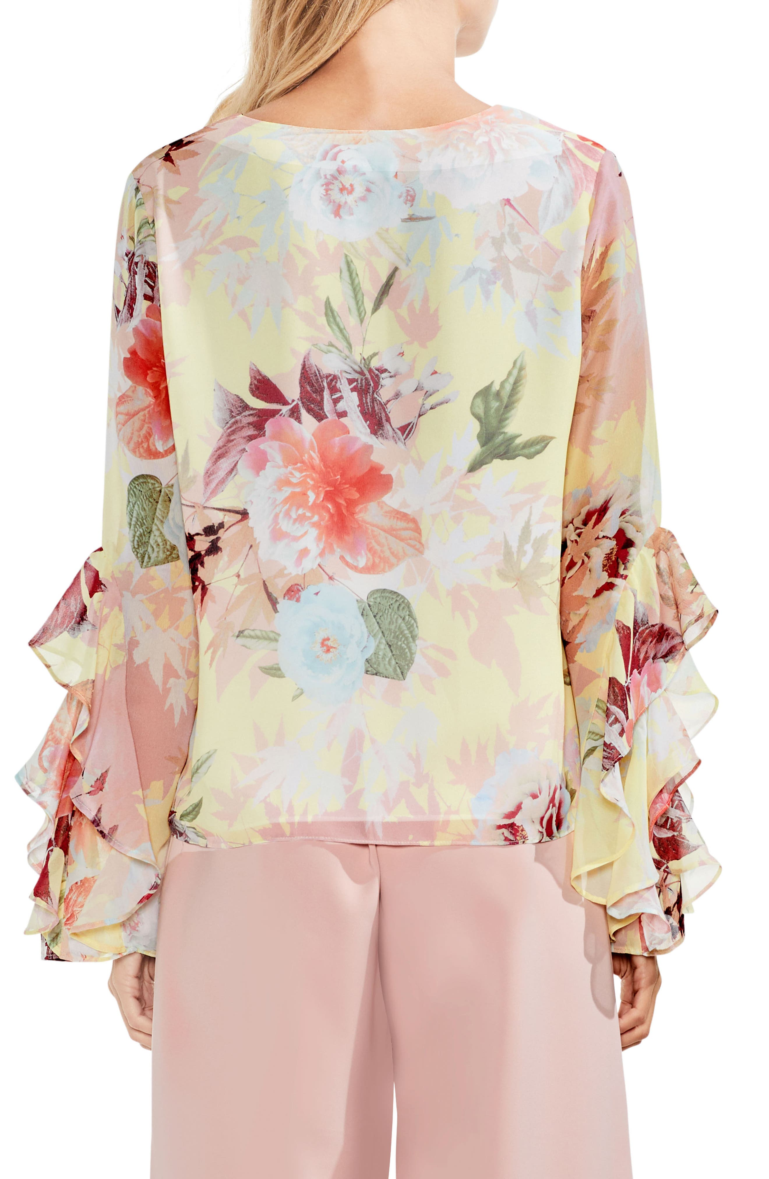 Faded Bloom Ruffle Sleeve Blouse,                             Alternate thumbnail 4, color,
