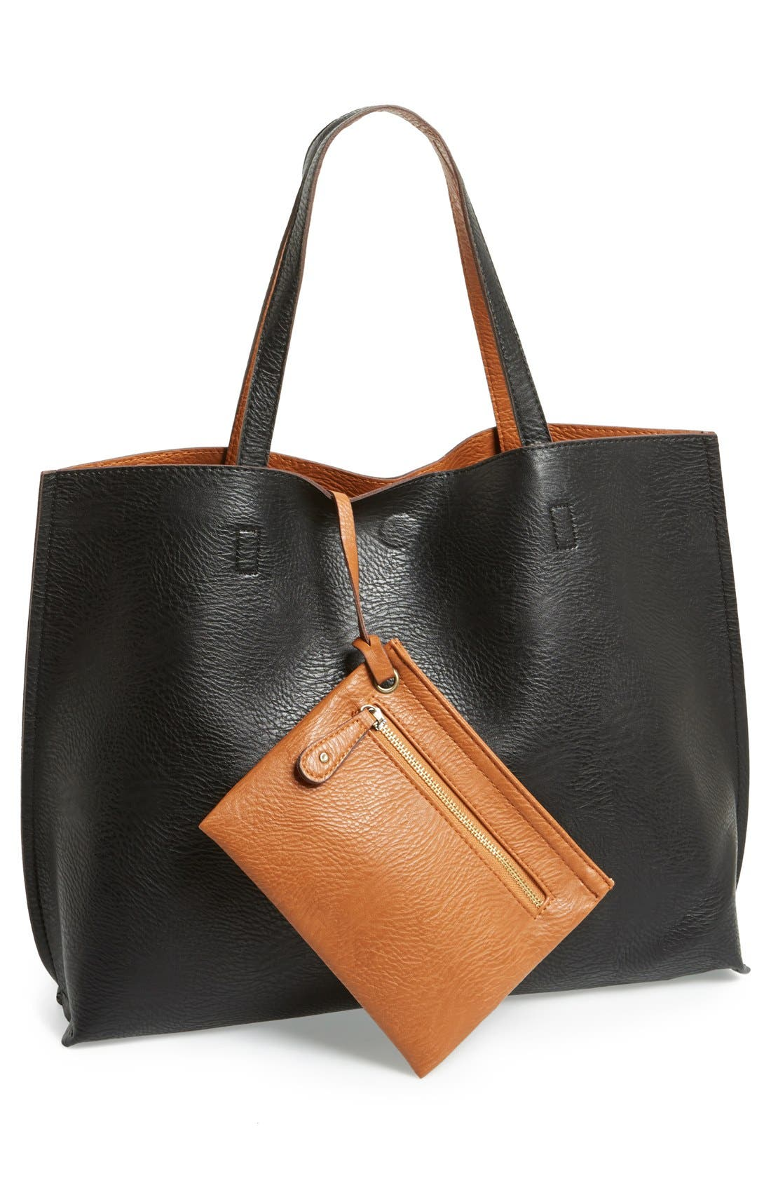 Reversible Faux Leather Tote & Wristlet,                             Main thumbnail 1, color,                             BLACK/ COGNAC