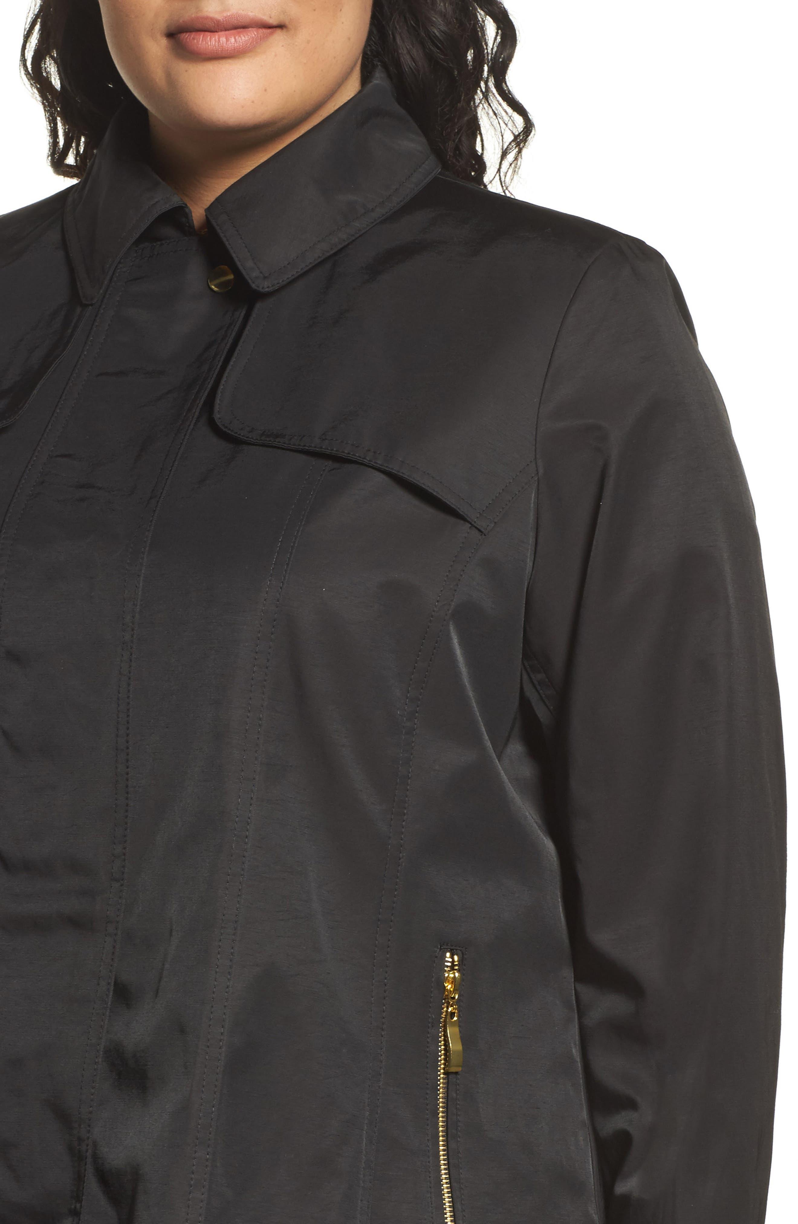 Packable Fit & Flare Raincoat,                             Alternate thumbnail 4, color,                             BLACK
