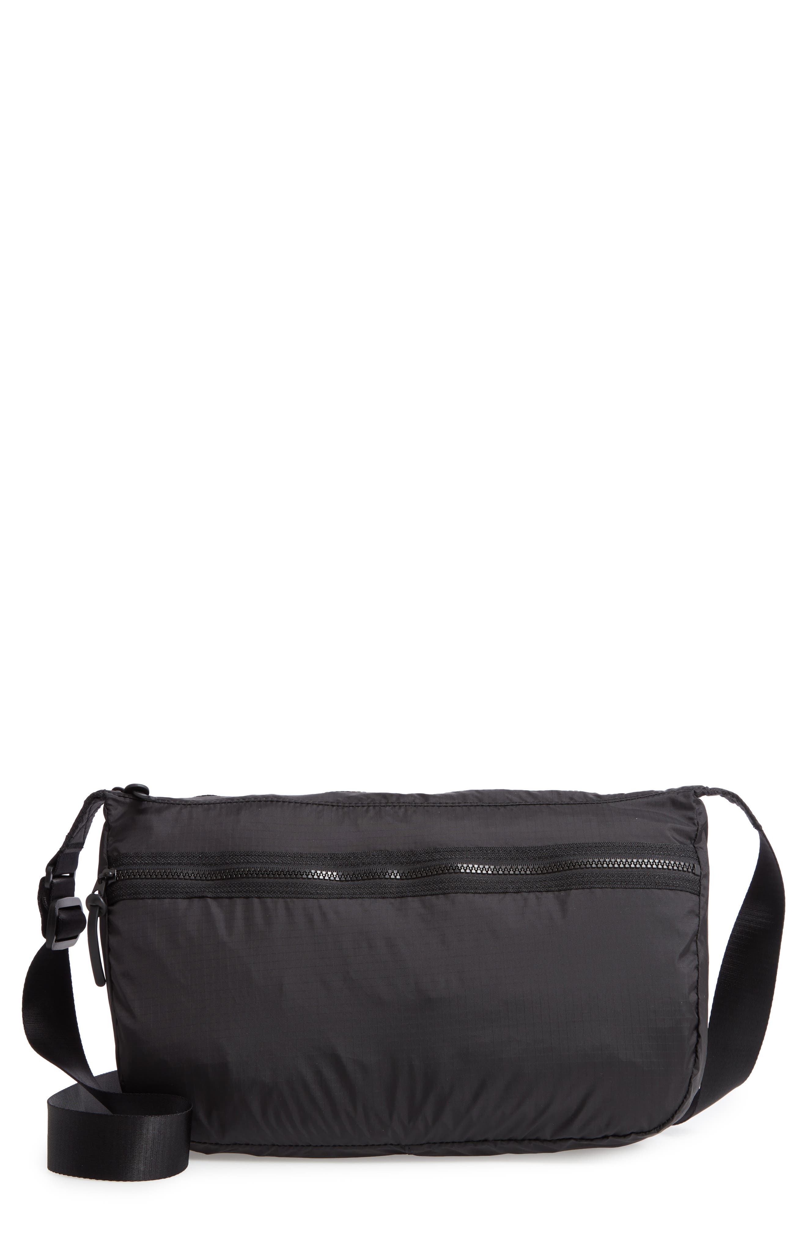 Ripstop Packable Crossbody Tote, Main, color, BLACK