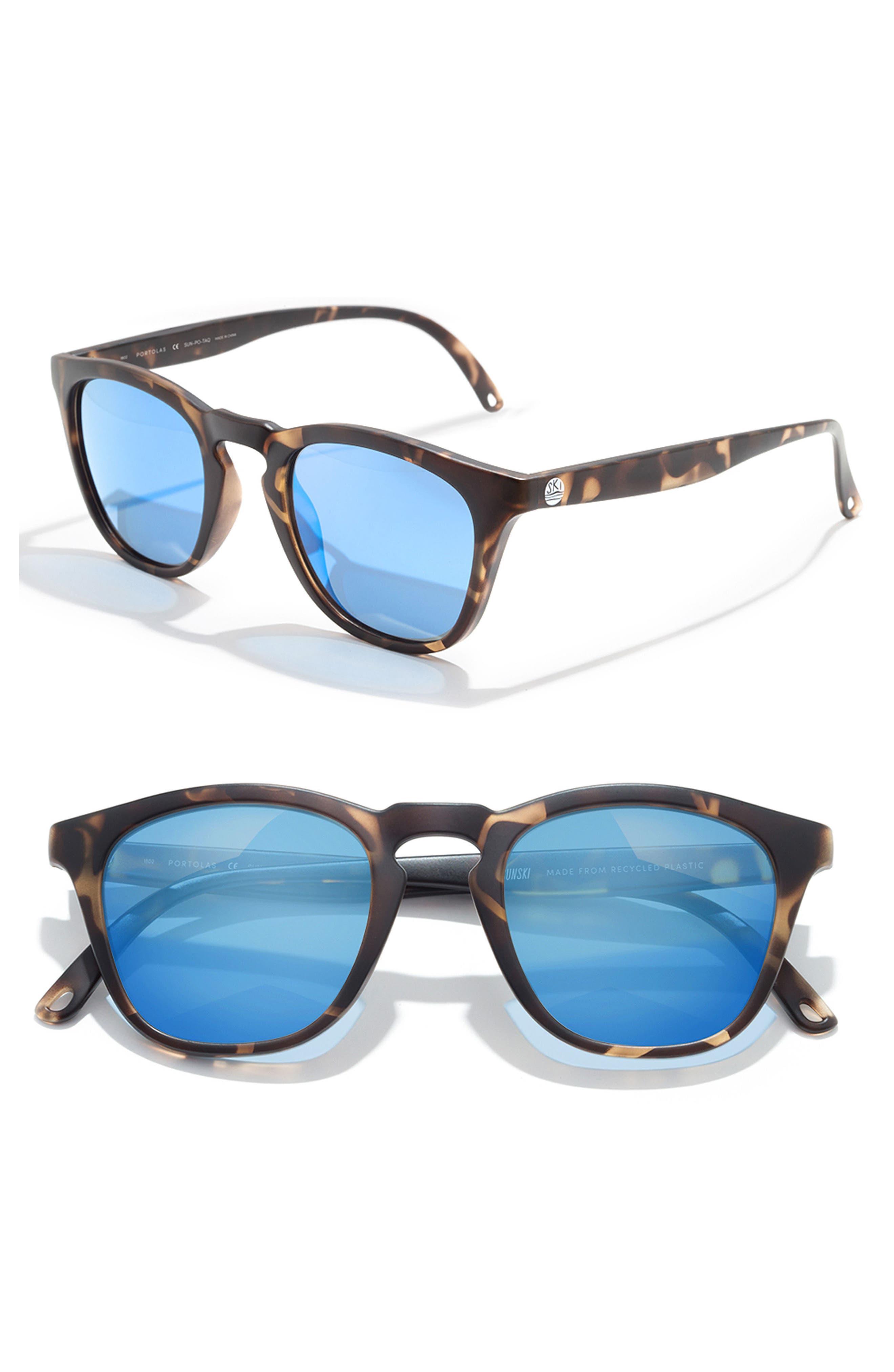 SUNSKI,                             Portola 47mm Polarized Sunglasses,                             Main thumbnail 1, color,                             TORTOISE AQUA