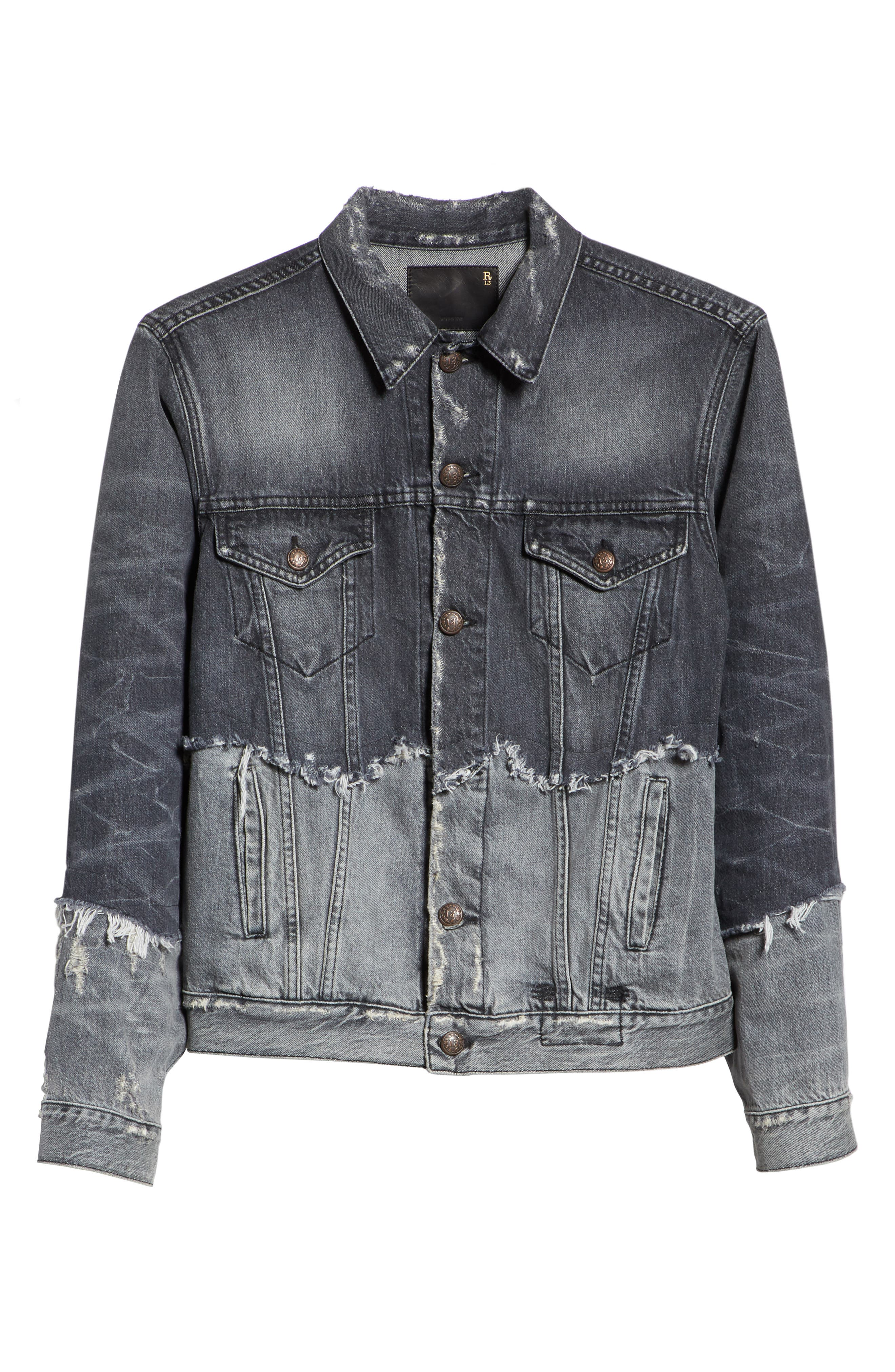 Shredded Two-Tone Denim Jacket,                             Alternate thumbnail 5, color,                             001