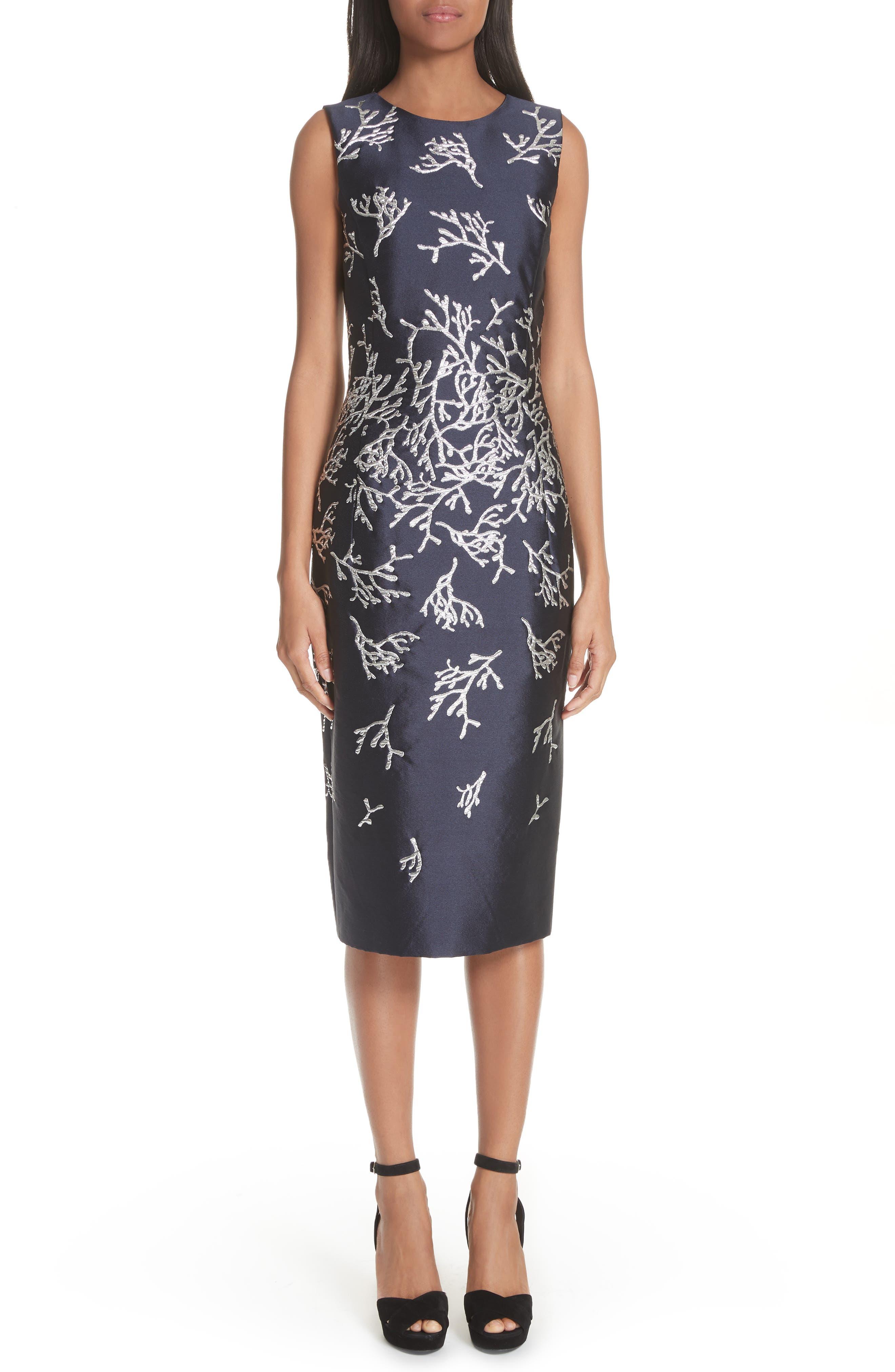 Oscar De La Renta Coral Pattern Sheath Dress