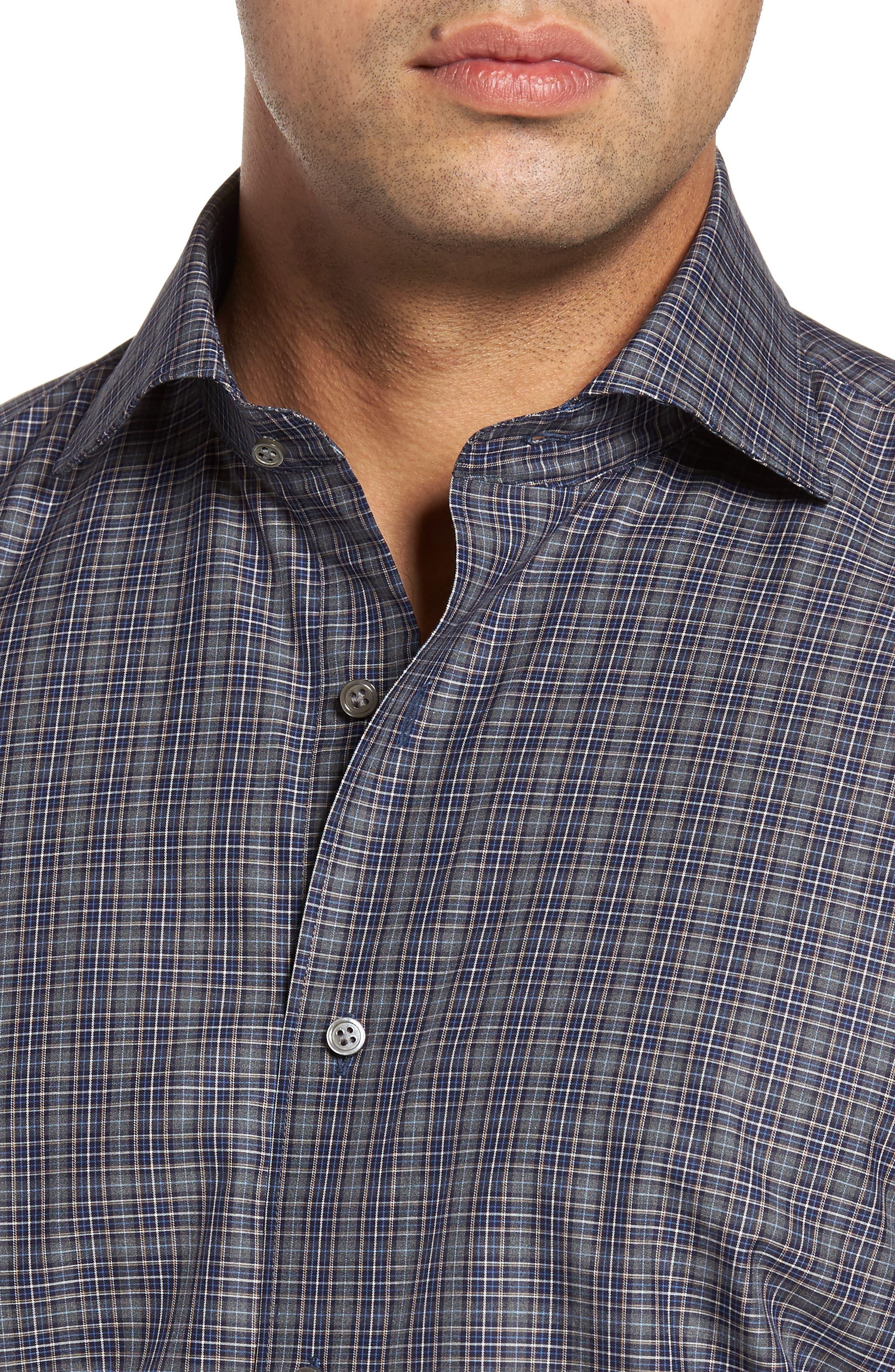 Meadows Mélange Regular Fit Check Sport Shirt,                             Alternate thumbnail 4, color,